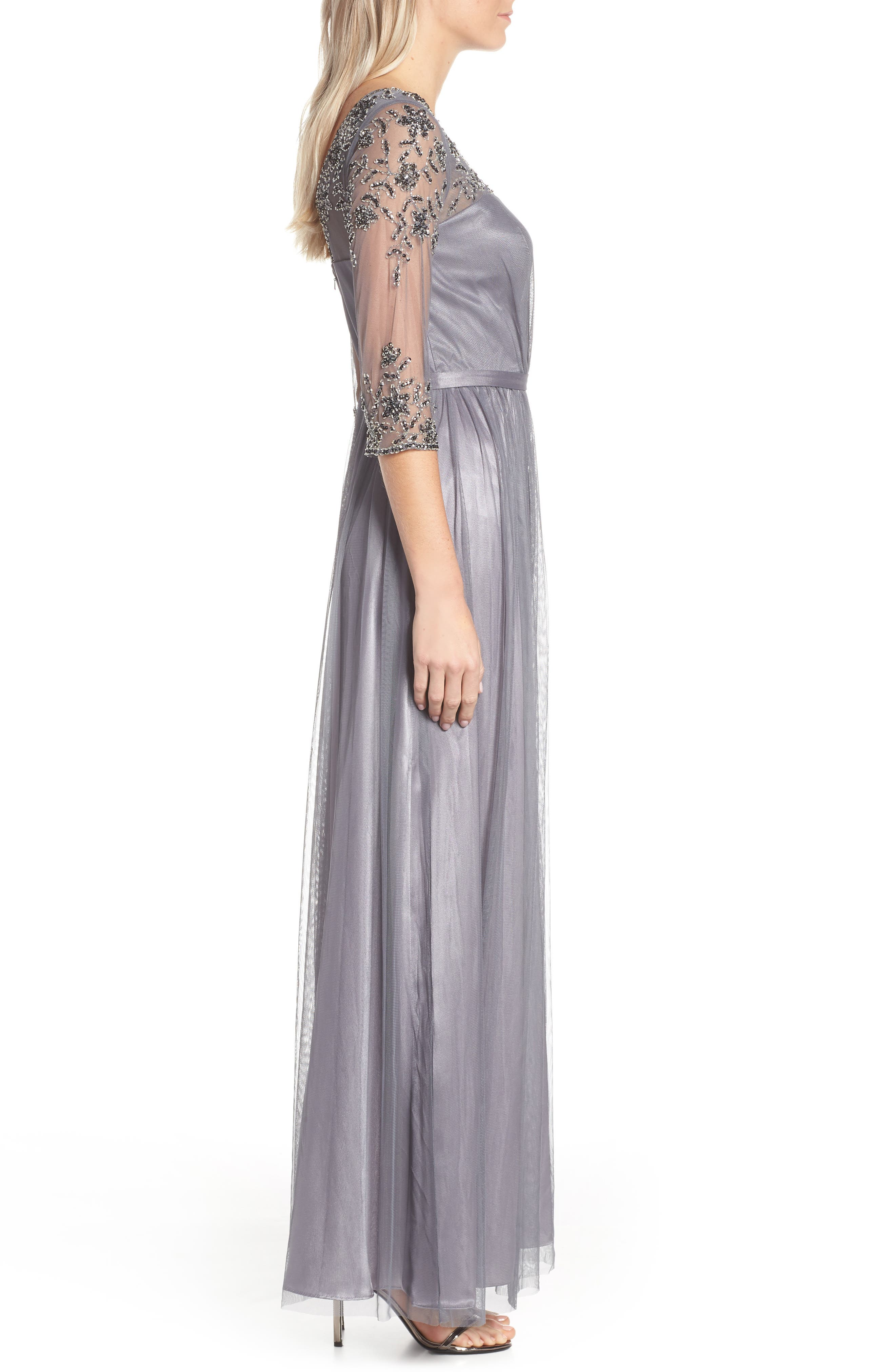 Beaded Lace Gown,                             Alternate thumbnail 3, color,                             021