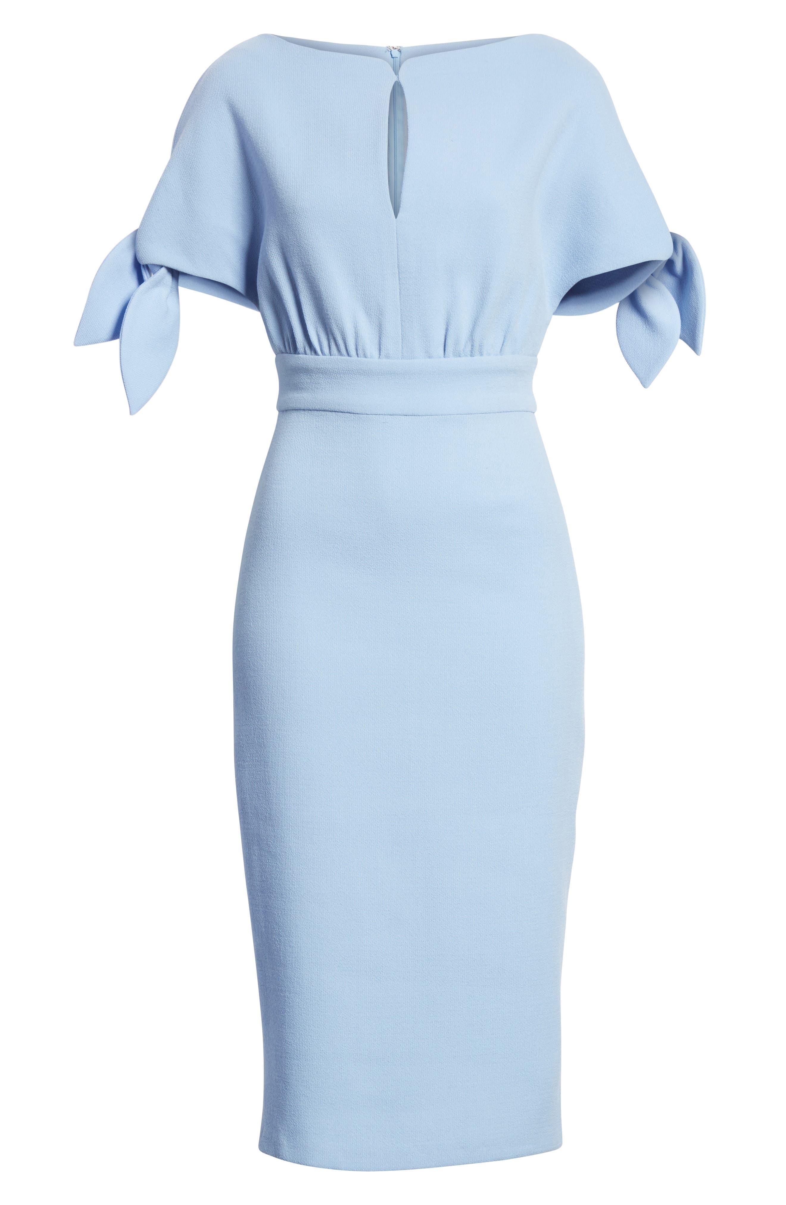 Tie Sleeve Wool Blend Sheath Dress,                             Alternate thumbnail 7, color,                             001