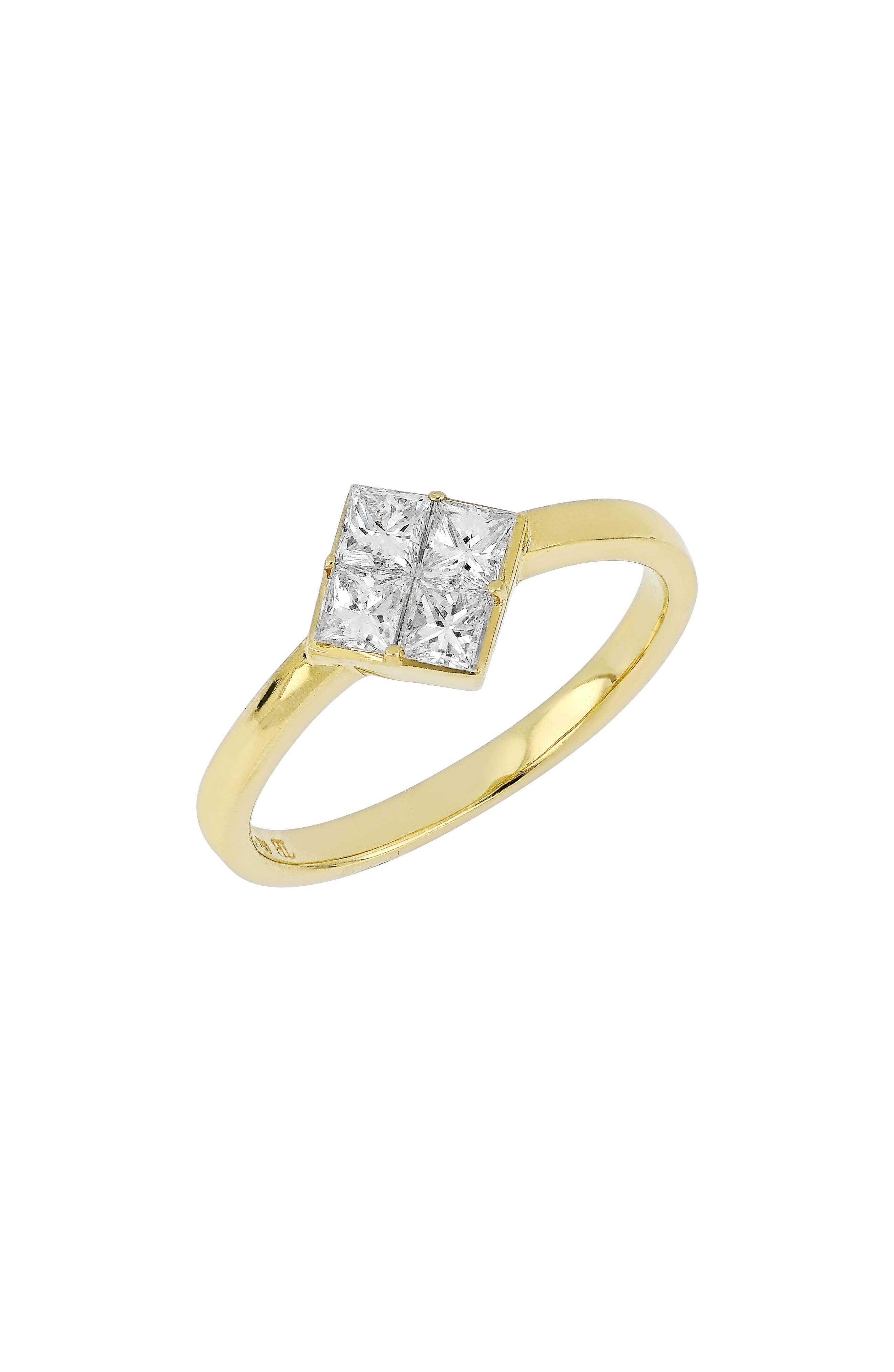 Diamond Cluster Ring,                         Main,                         color, YELLOW GOLD