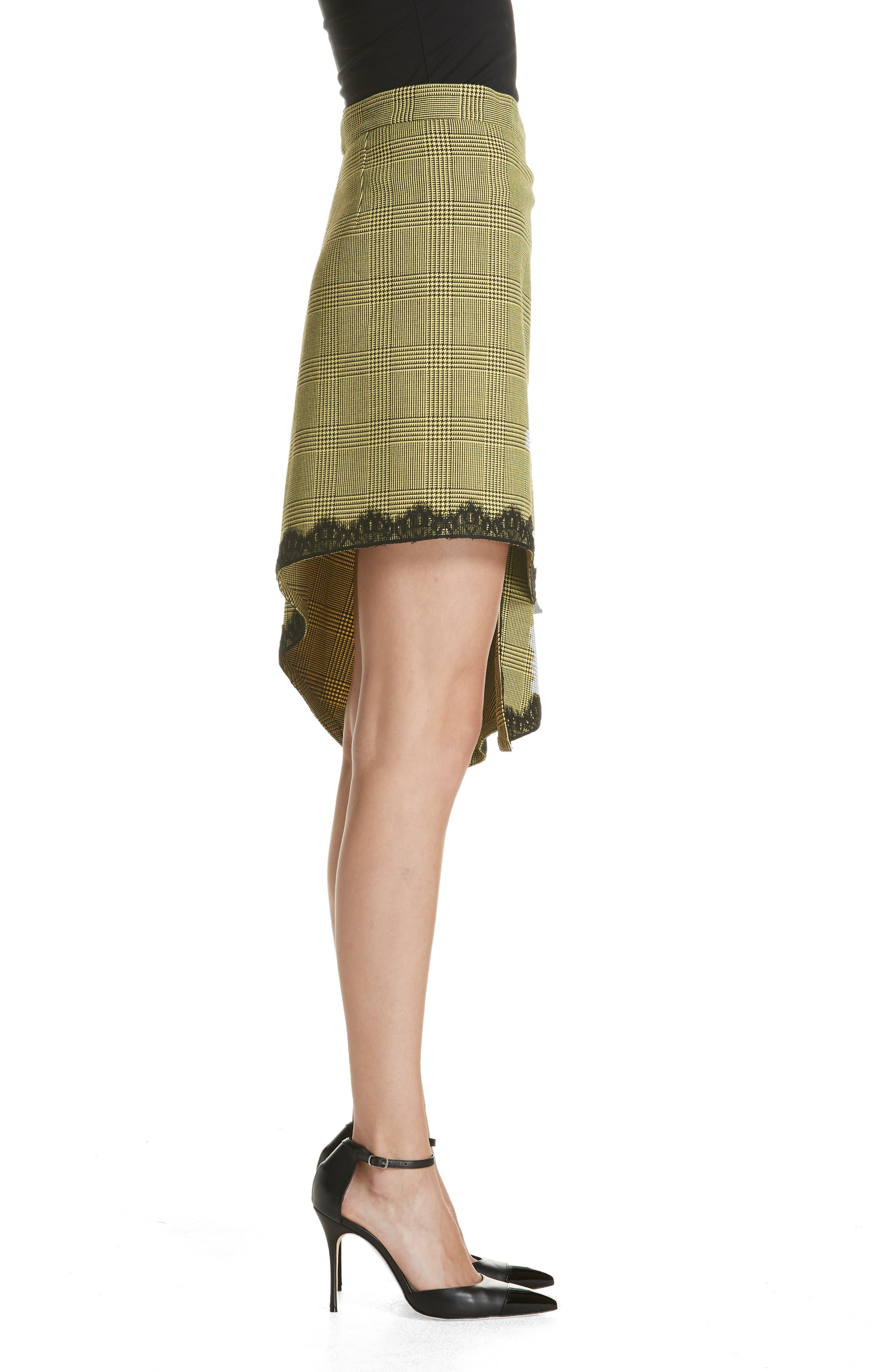 Lace Trim Plaid Skirt,                             Alternate thumbnail 3, color,                             BLACK/ YELLOW