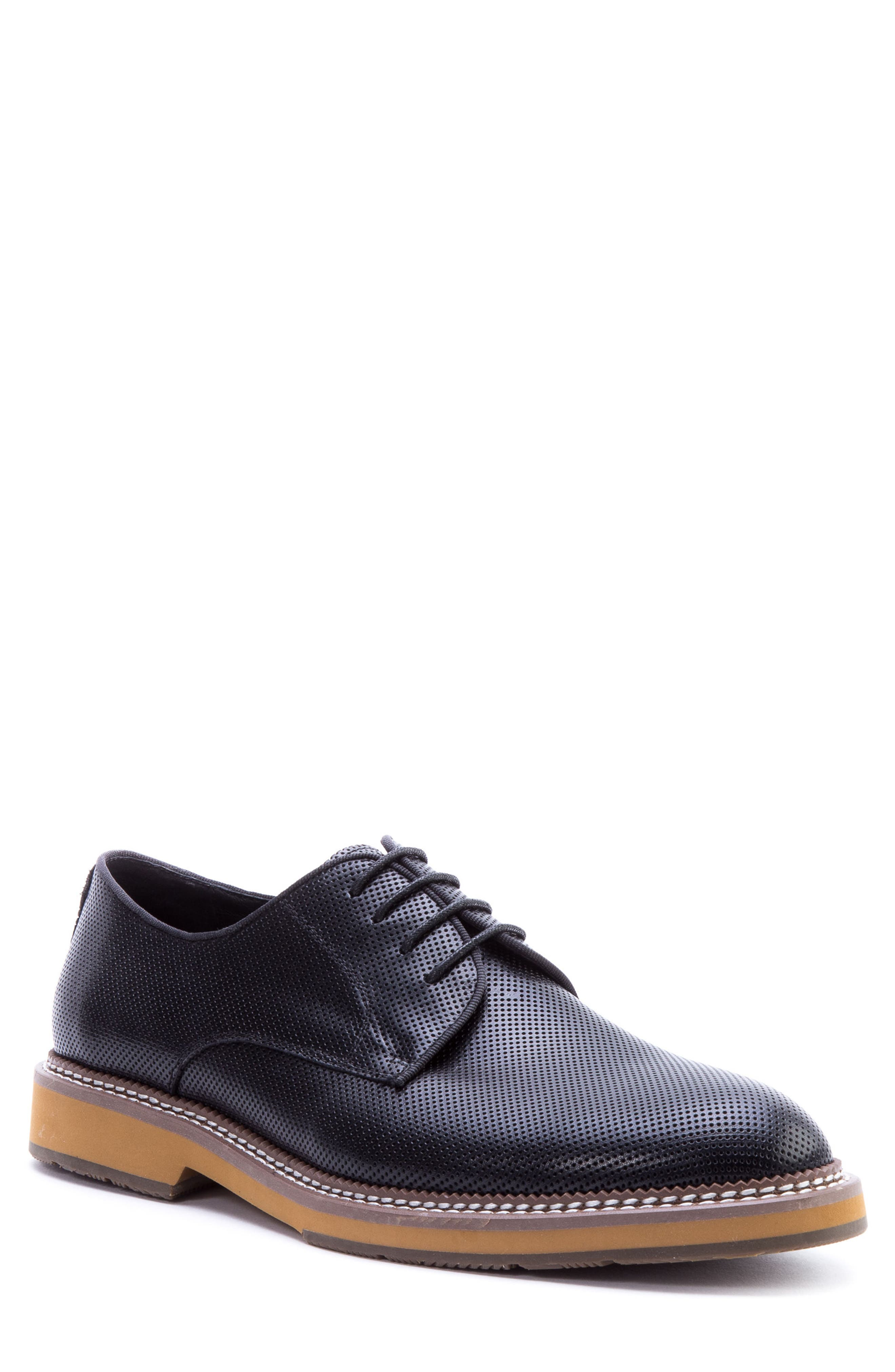 Monticello Perforated Plain Toe Derby,                         Main,                         color, BLACK LEATHER