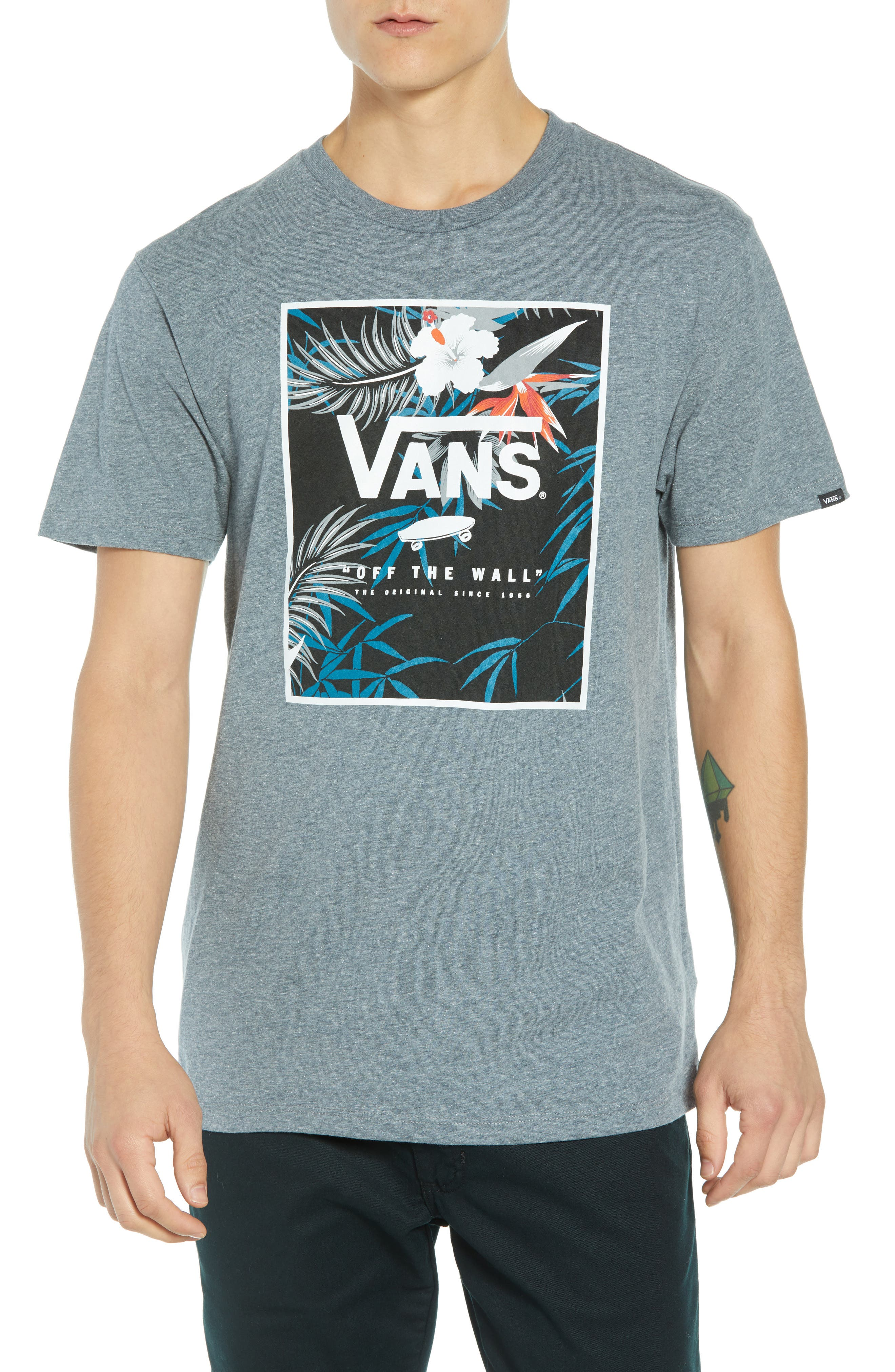 Print Box Graphic T-Shirt,                         Main,                         color, HEATHER GREY/ PEACE OUT FLORAL