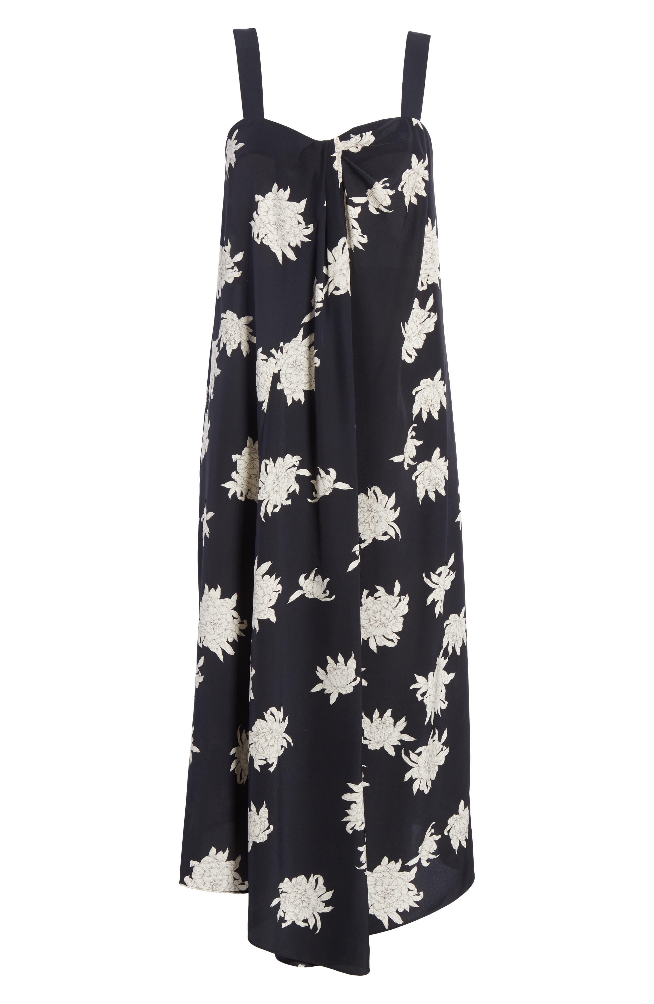 Chrysanthemum Print Silk Midi Dress,                             Alternate thumbnail 6, color,                             COASTAL