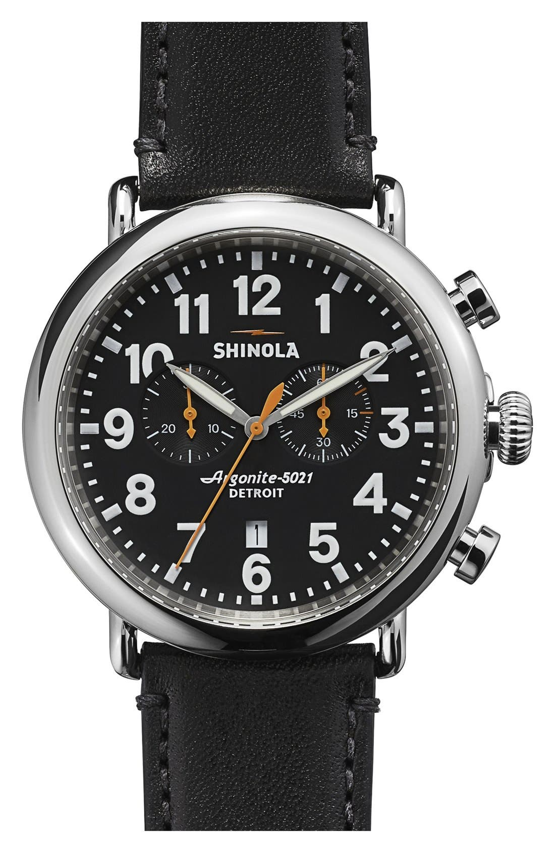 The Runwell Chrono Leather Strap Watch, 47mm,                         Main,                         color, BLACK