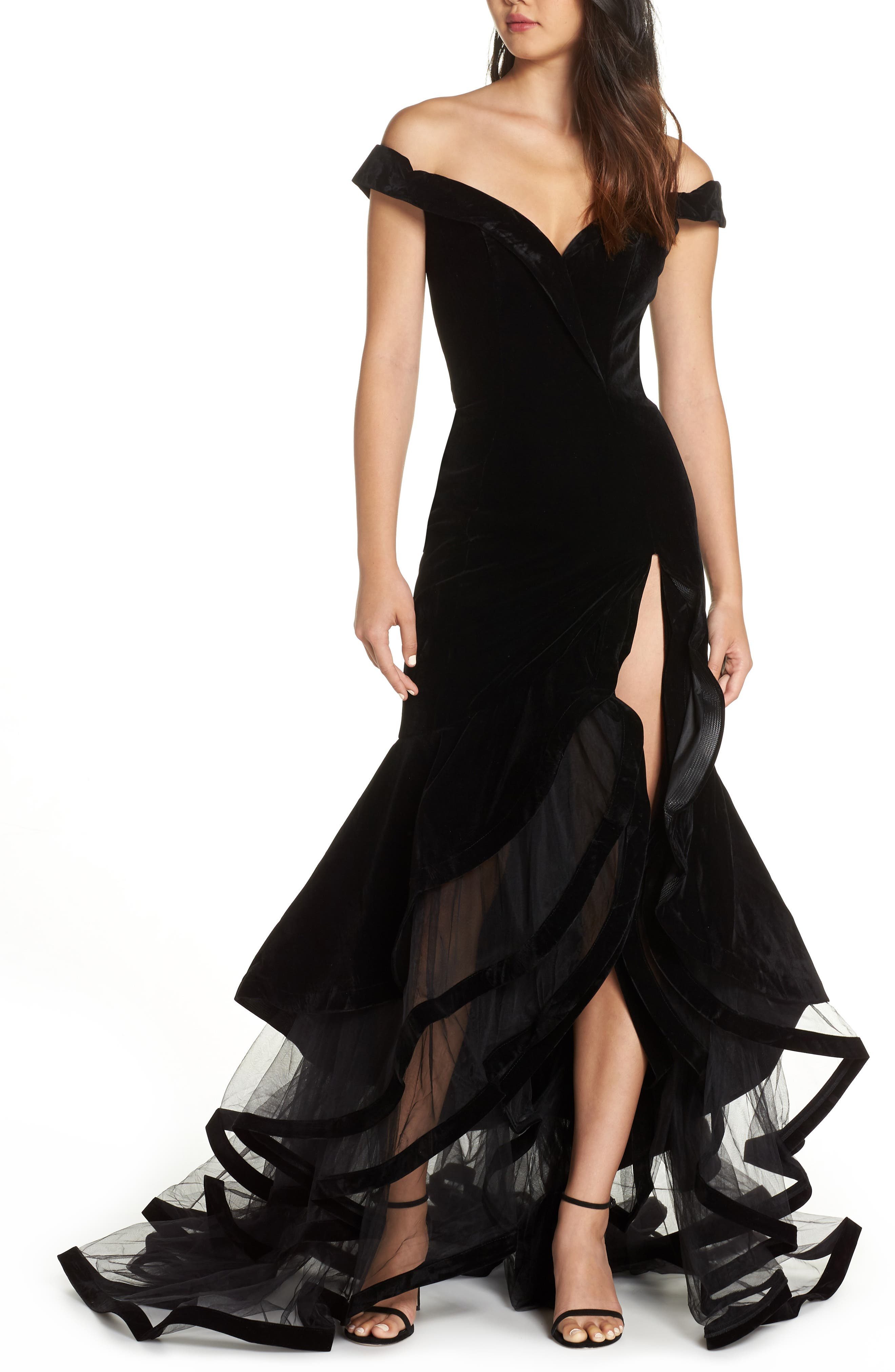 MAC DUGGAL Off-The-Shoulder Velvet Gown W/ Layered Ruffle Mesh Skirt in Black