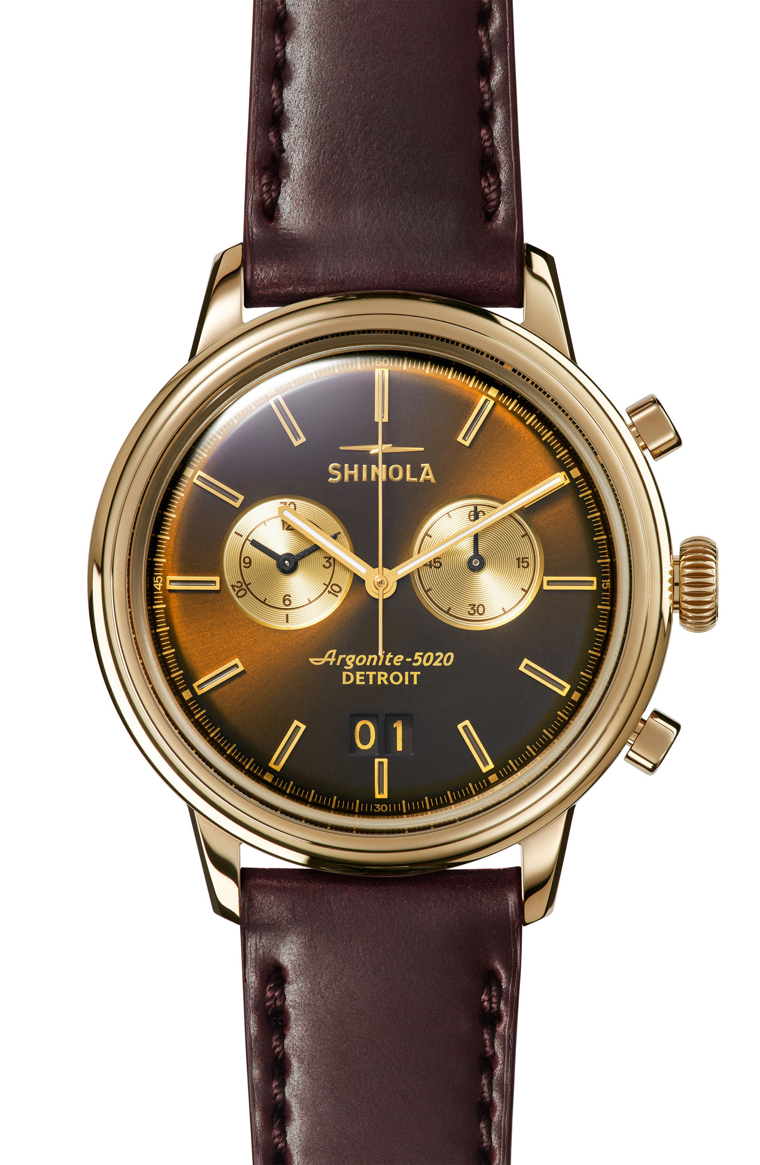 Bedrock Chronograph Leather Strap Watch, 42mm,                         Main,                         color, BROWN/ GOLD
