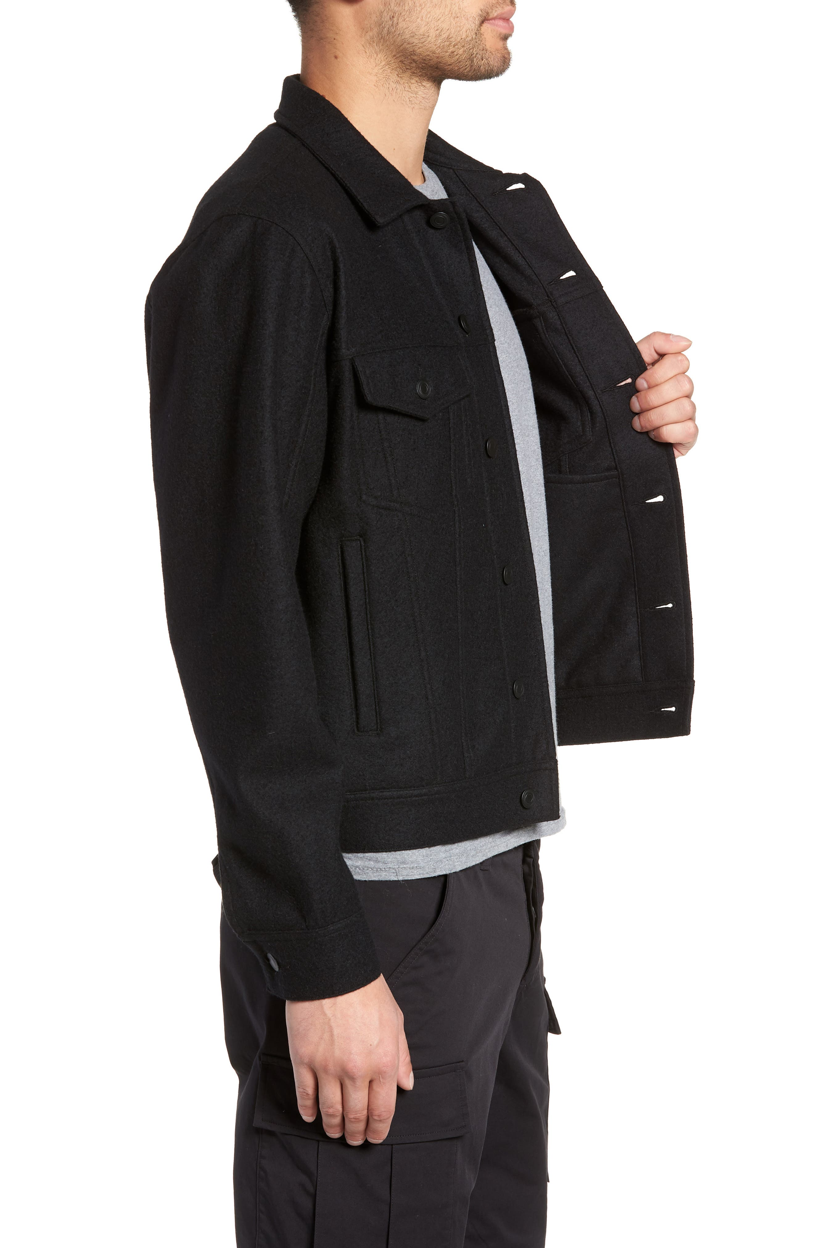 Wool Blend Trucker Jacket,                             Alternate thumbnail 3, color,                             BLACK