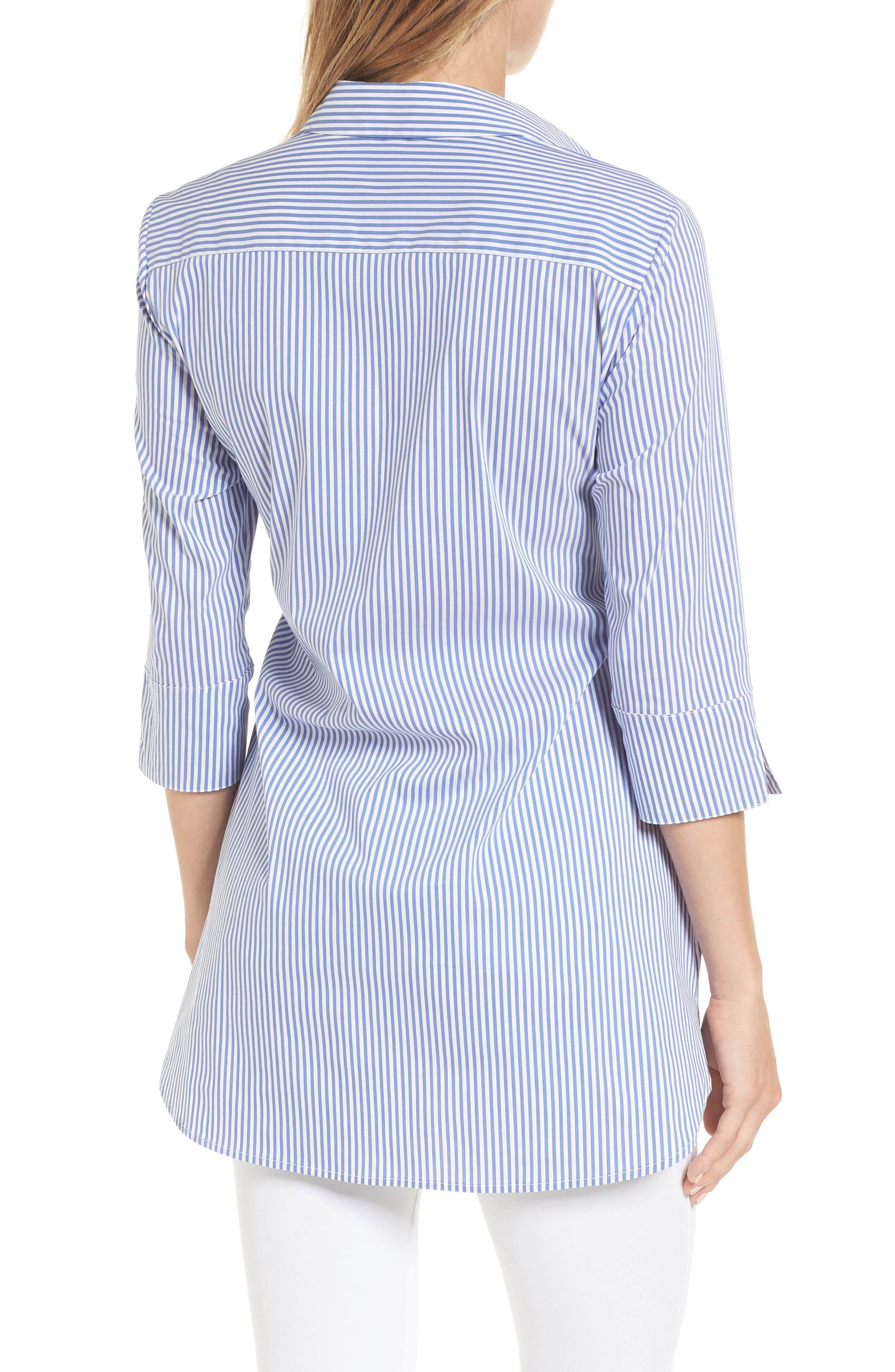 Dora Tie Front Maternity Shirt,                             Alternate thumbnail 2, color,                             BLUE/WHITE STRIPE