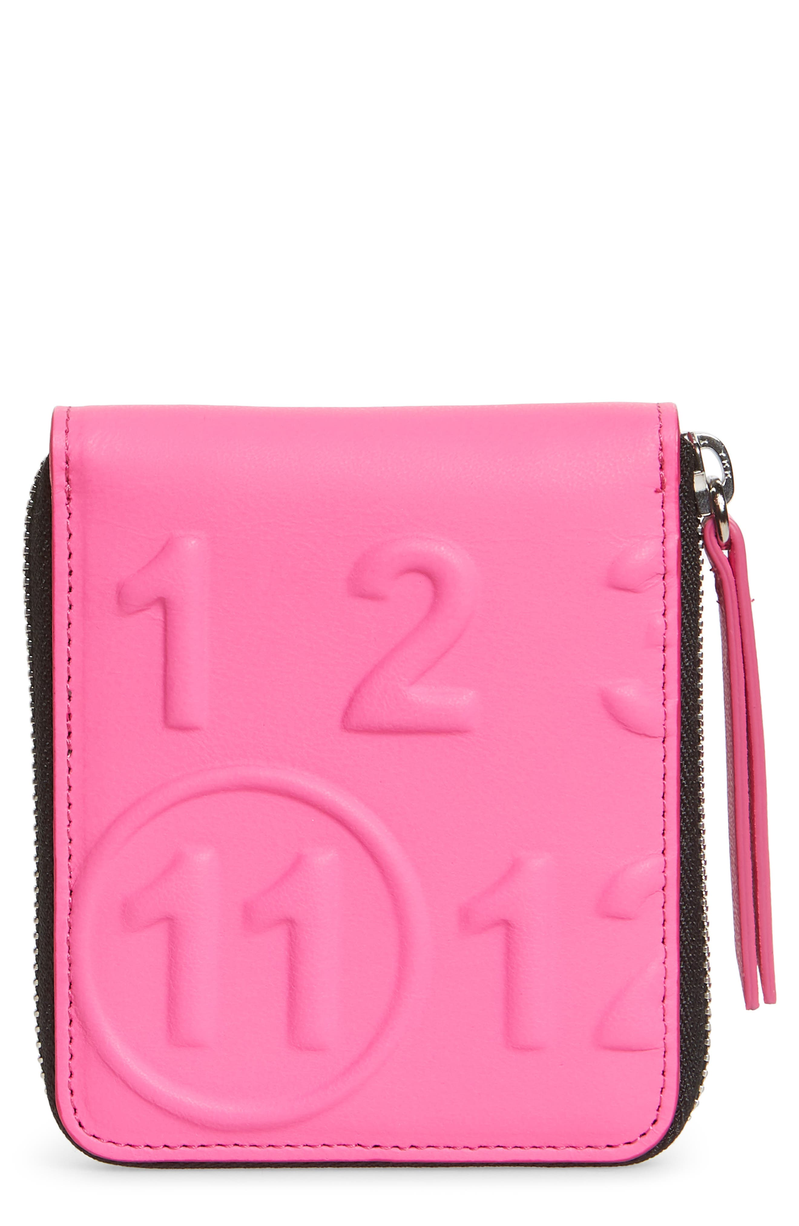 Faux Leather French Wallet,                         Main,                         color, PINK