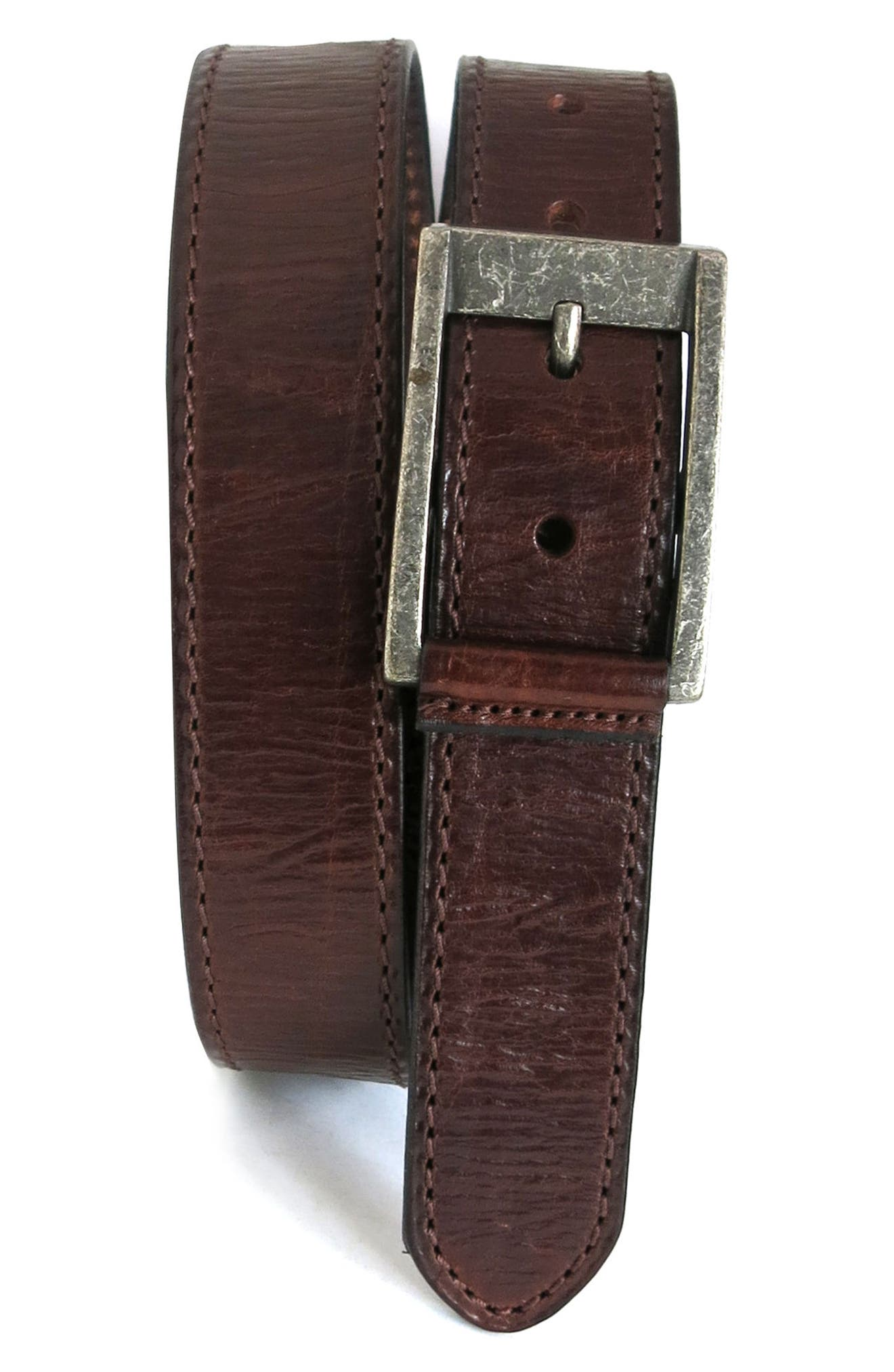 Boconi Burnished Calfskin Leather Belt, Chestnut