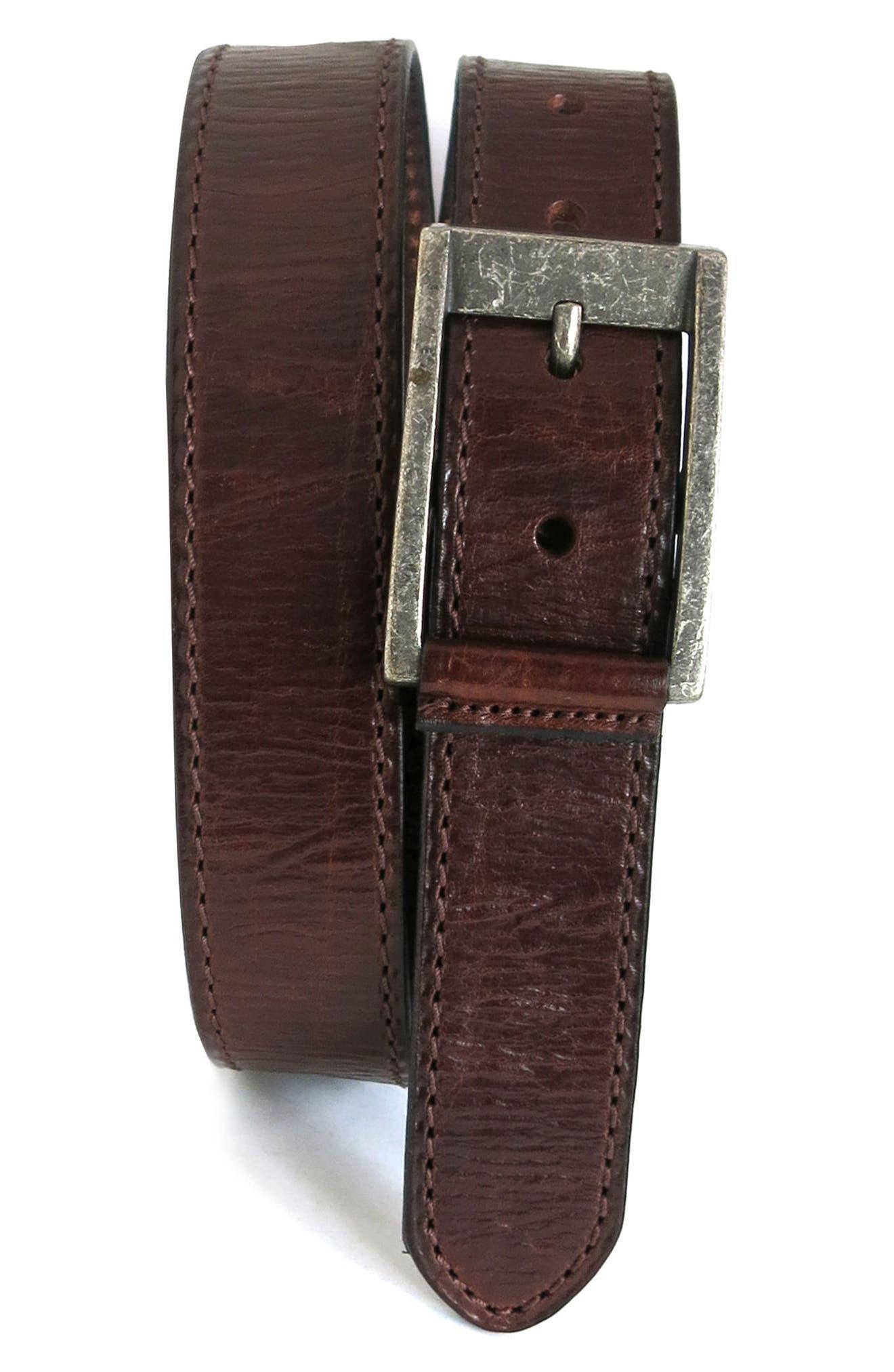 BOCONI Burnished Calfskin Leather Belt, Main, color, CHESTNUT