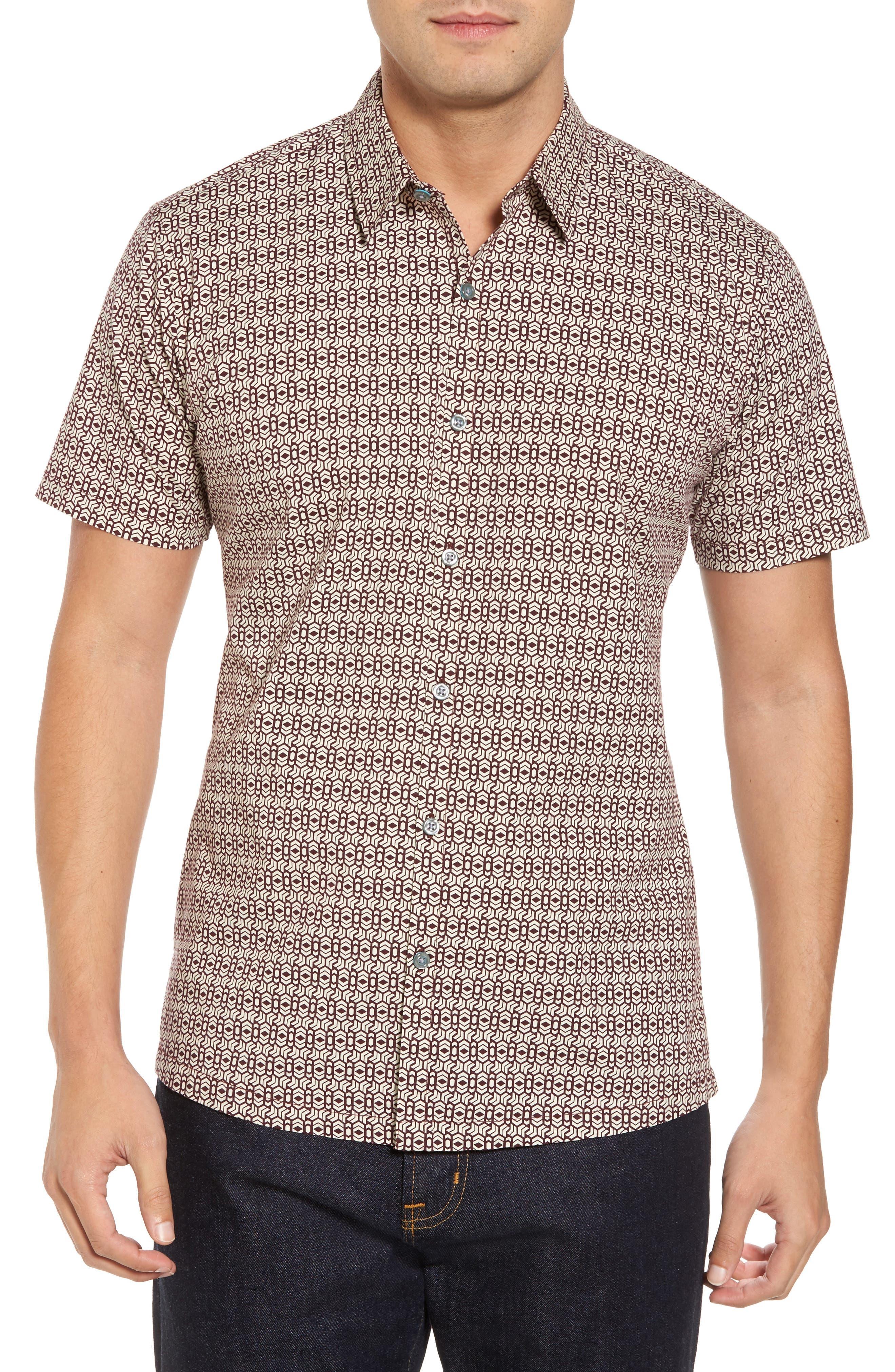Chevrons Slim Fit Camp Shirt,                             Main thumbnail 1, color,