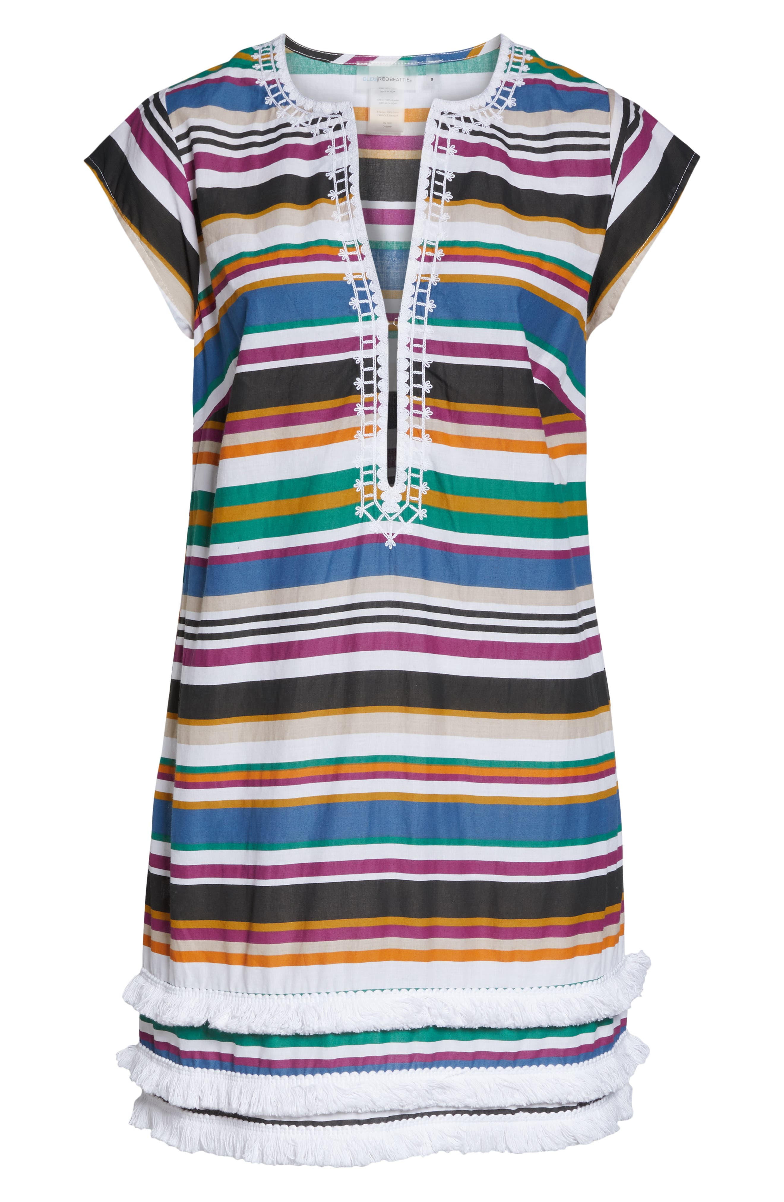 BLEU BY ROD BEATTIE,                             Under Cover Stripe Cover-Up Dress,                             Alternate thumbnail 6, color,                             NAVY/ NEUTRAL