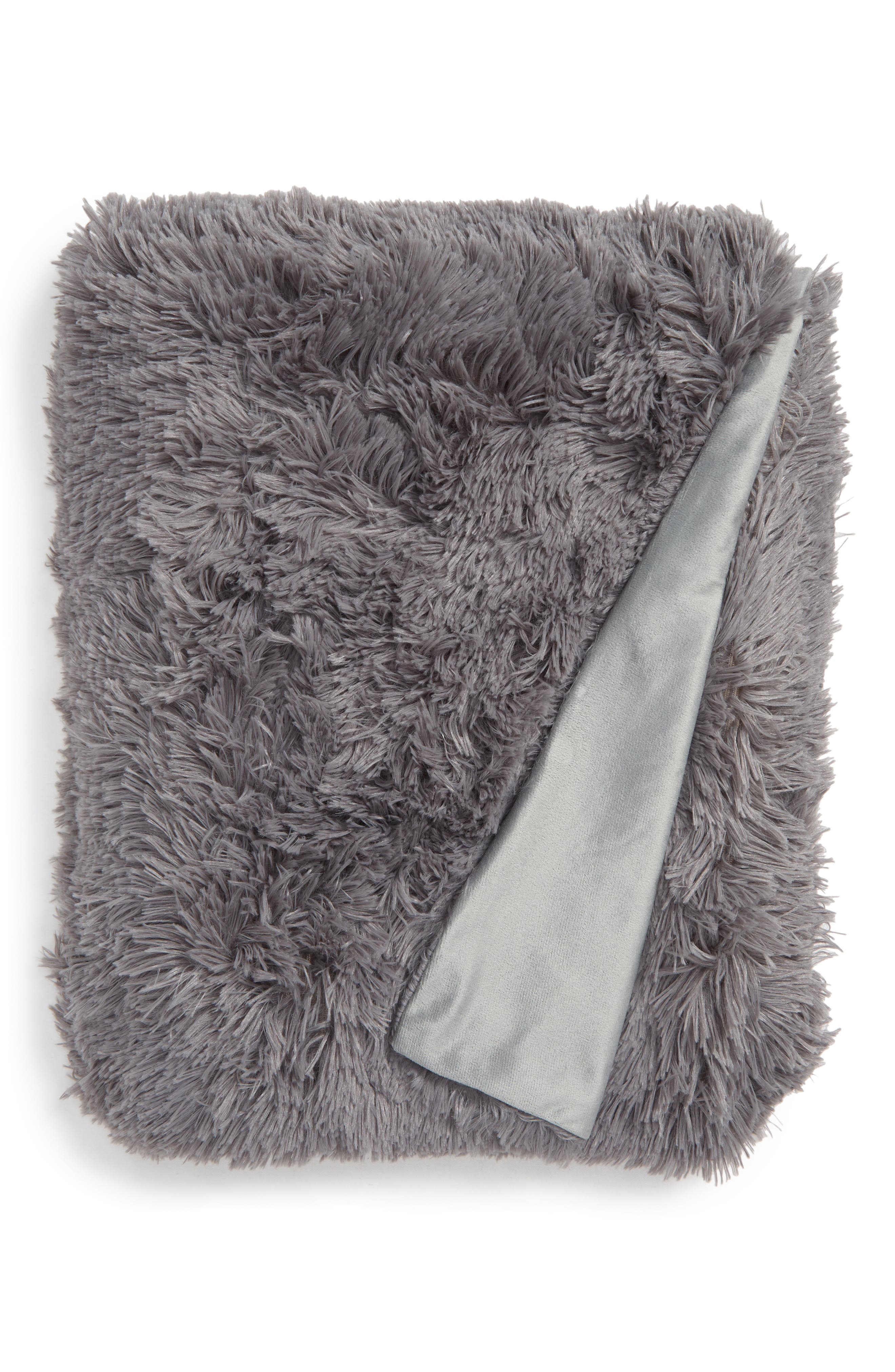 Feather Throw,                             Main thumbnail 1, color,                             GREY FROST