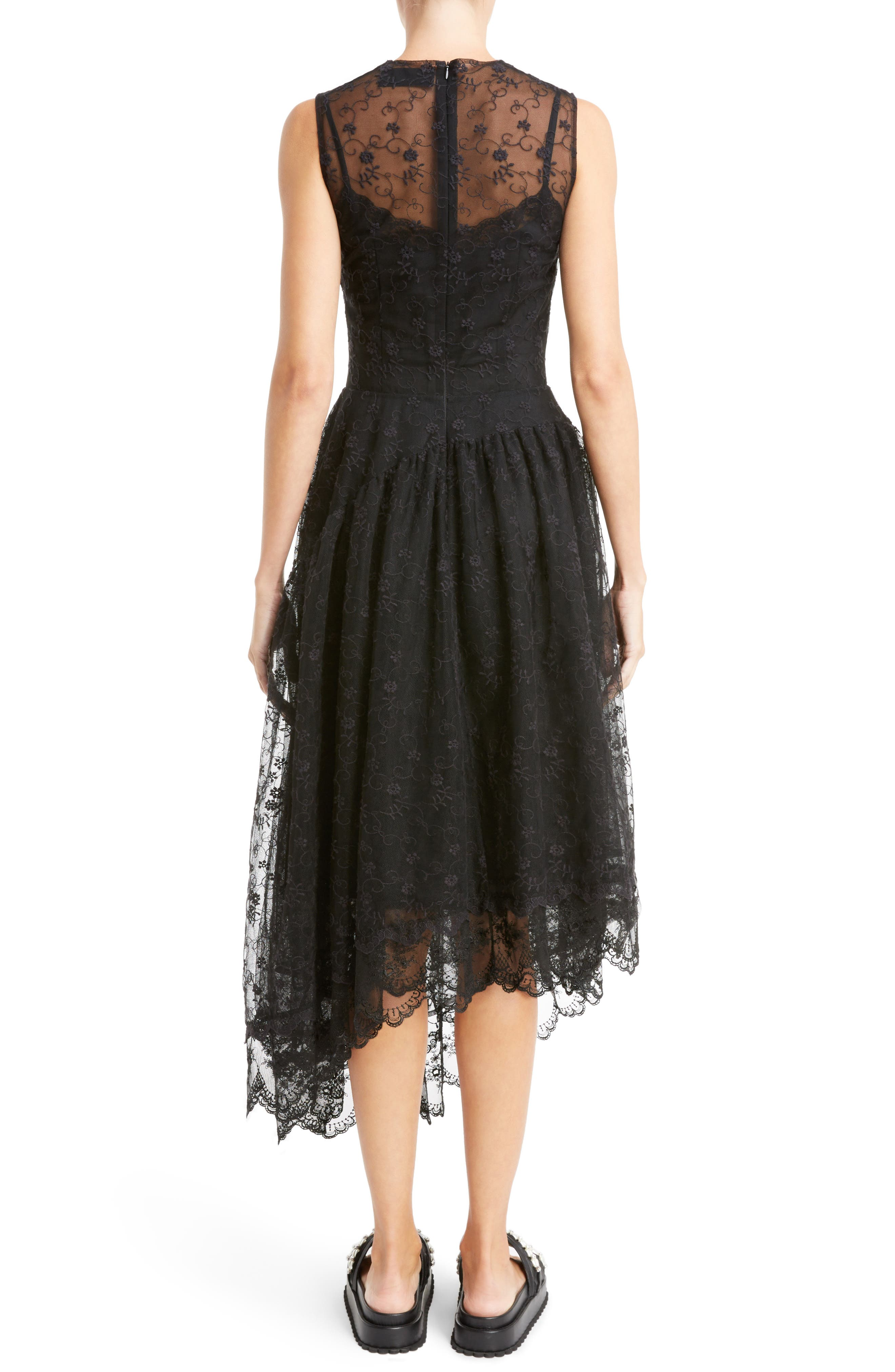 Asymmetrical Embroidered Tulle Dress,                             Alternate thumbnail 2, color,                             001