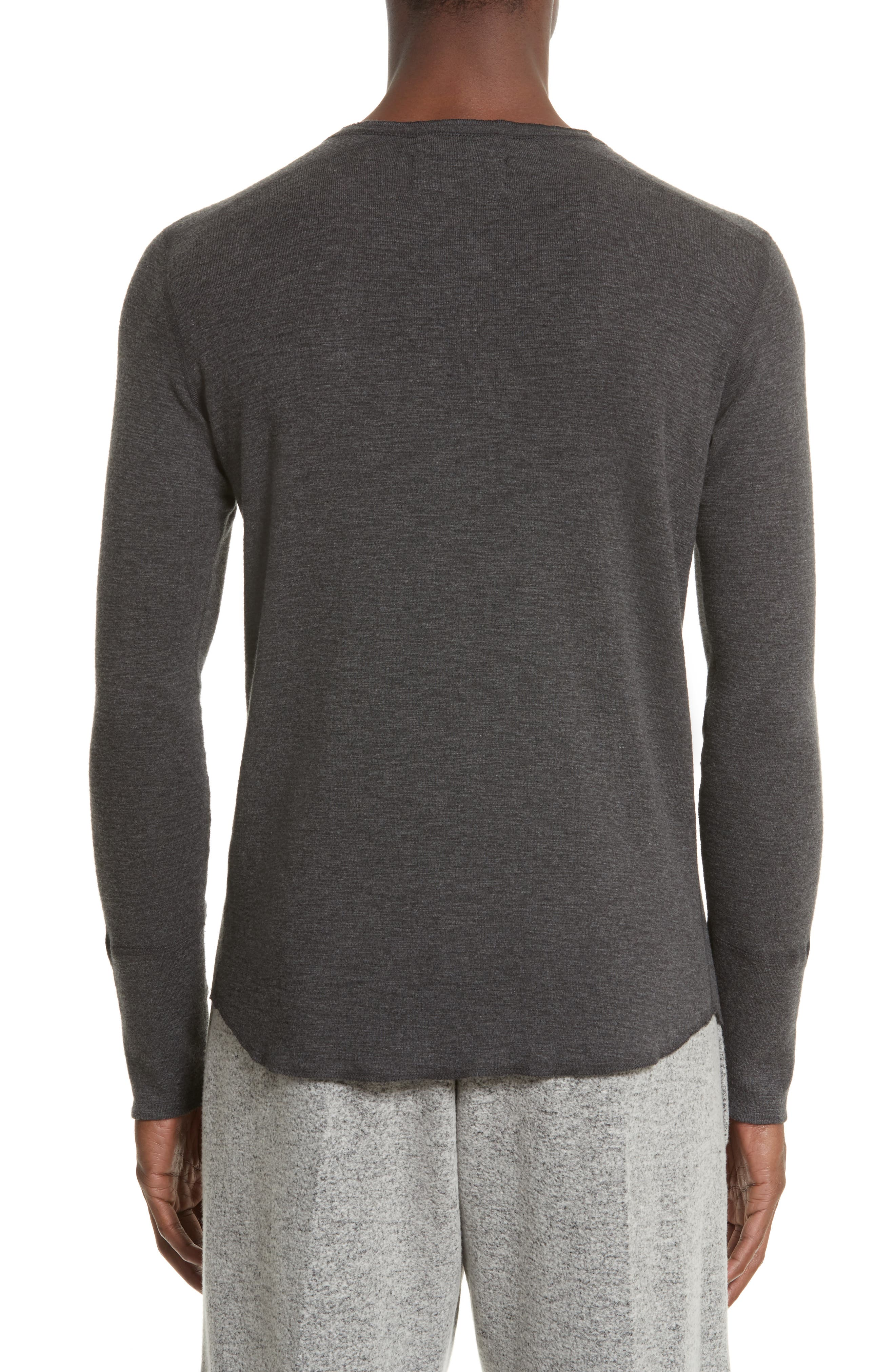 'Base' Long Sleeve Henley,                             Alternate thumbnail 2, color,                             HEATHER CHARCOAL