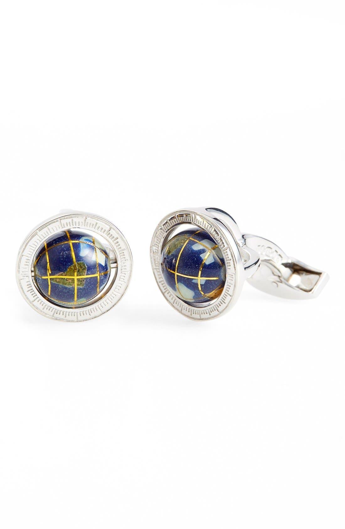 'Globe' Cuff Links,                         Main,                         color, BLUE