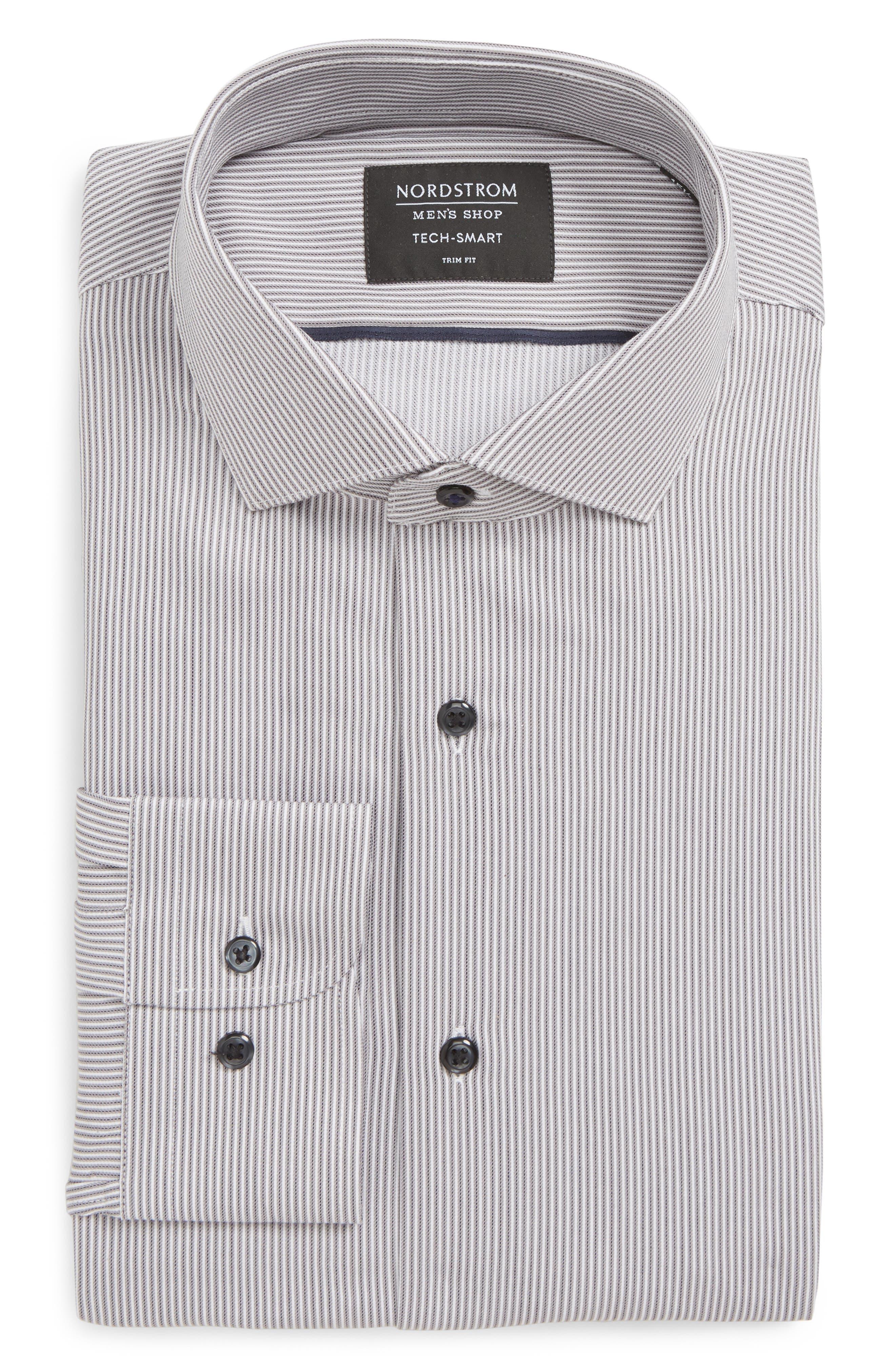 Tech-Smart Trim Fit Stretch Stripe Dress Shirt,                         Main,                         color, GREY ONYX