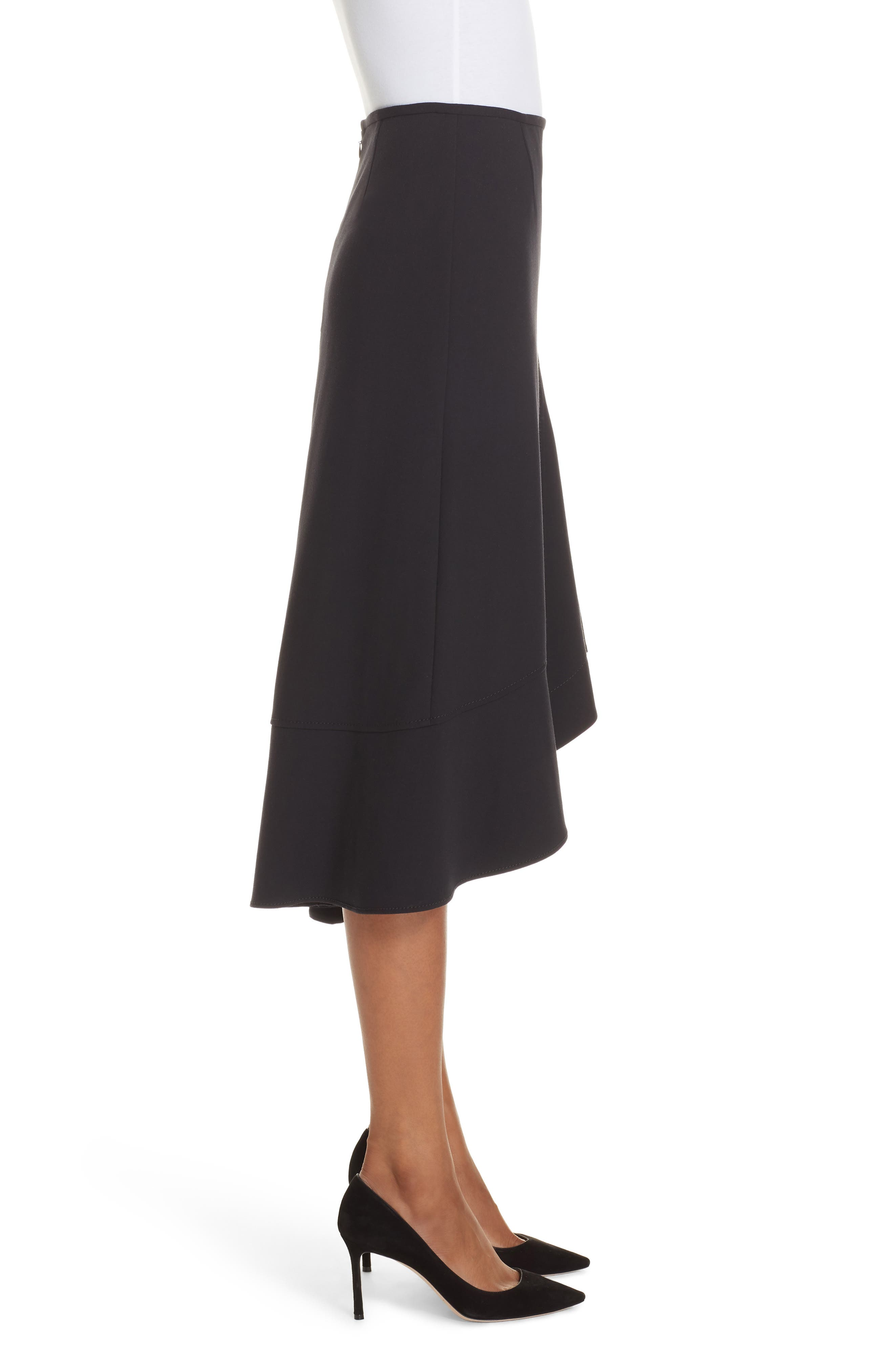 Melepia Asymmetrical Faux Wrap Skirt,                             Alternate thumbnail 3, color,                             NAVY