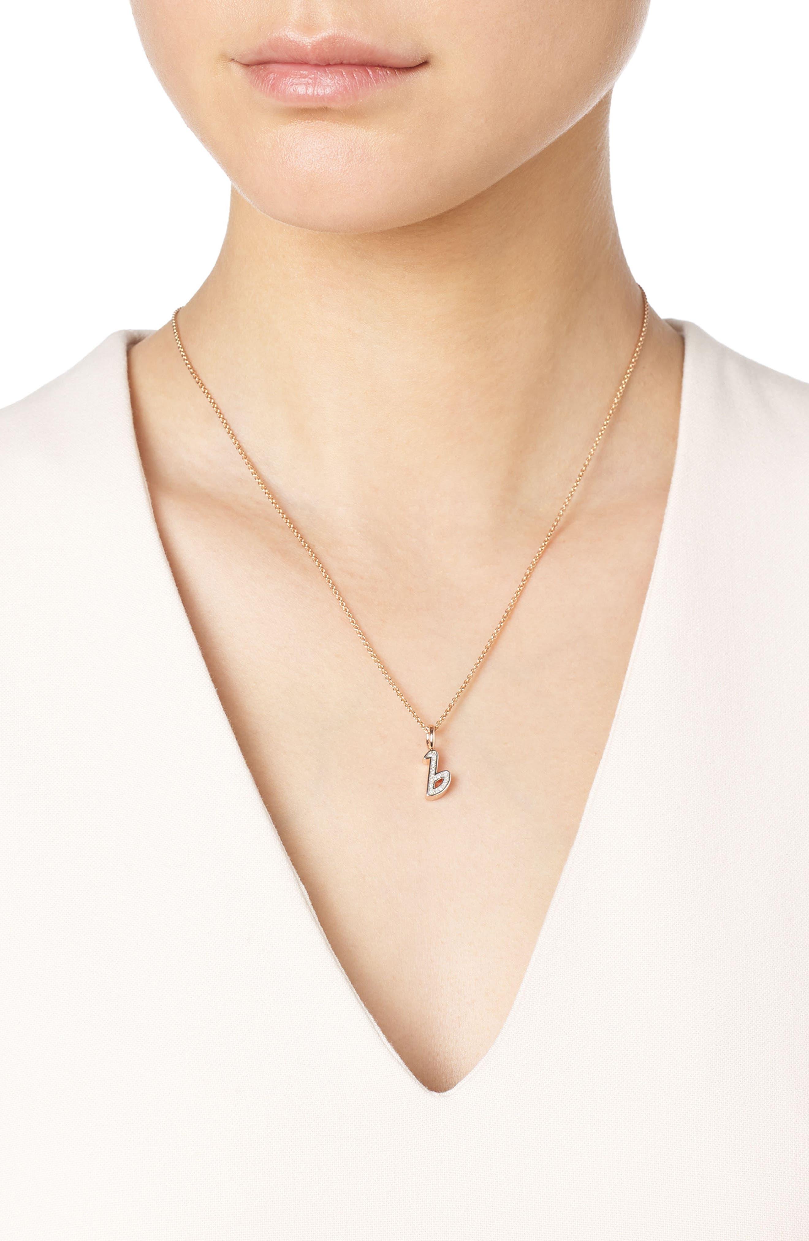 Diamond Initial Pendant Charm,                             Alternate thumbnail 2, color,                             Rose Gold/ Diamond- B