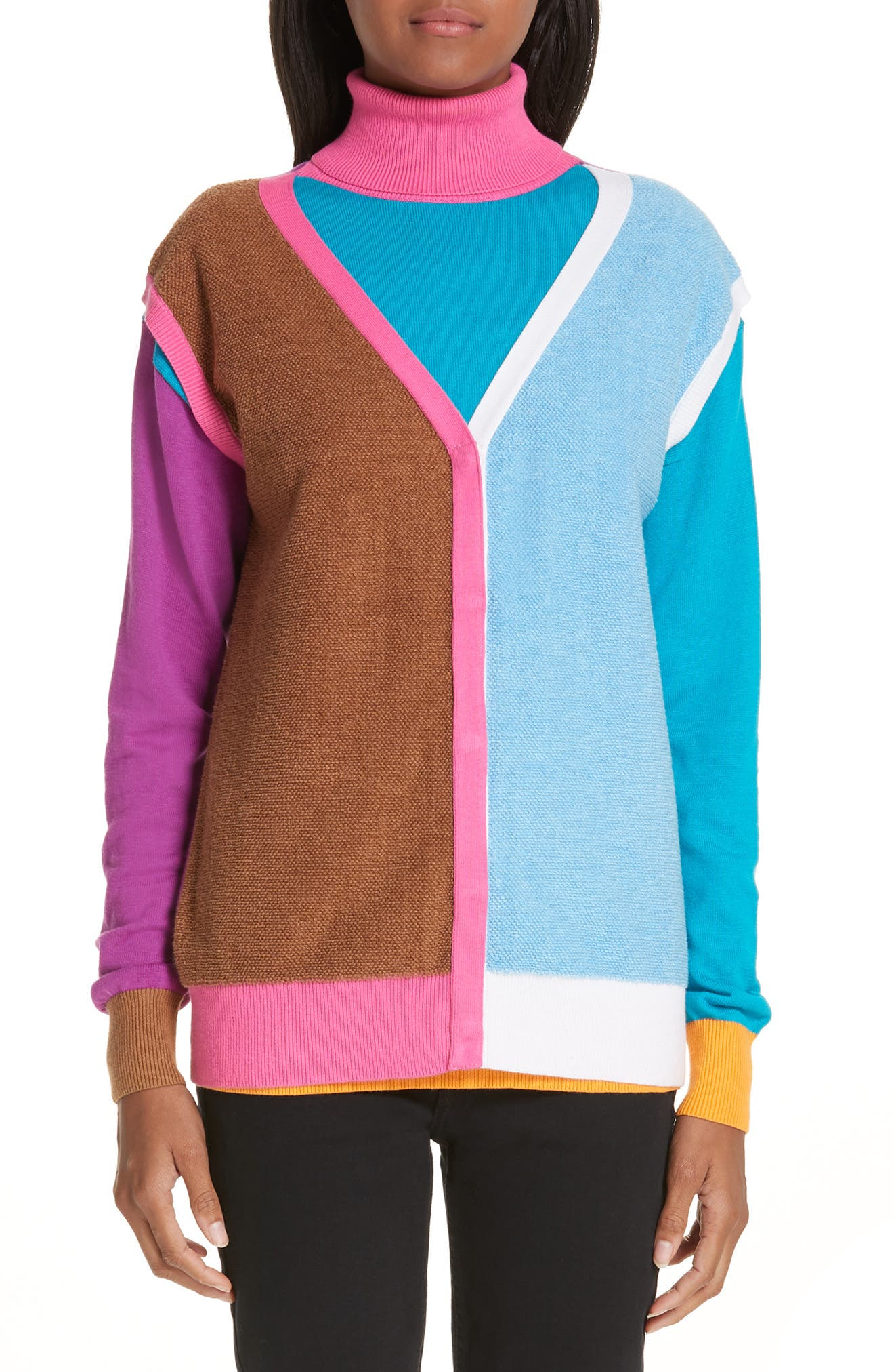 Layered Cotton & Cashmere Sweater,                             Main thumbnail 1, color,                             PINK/BLUE/SAND COMBO