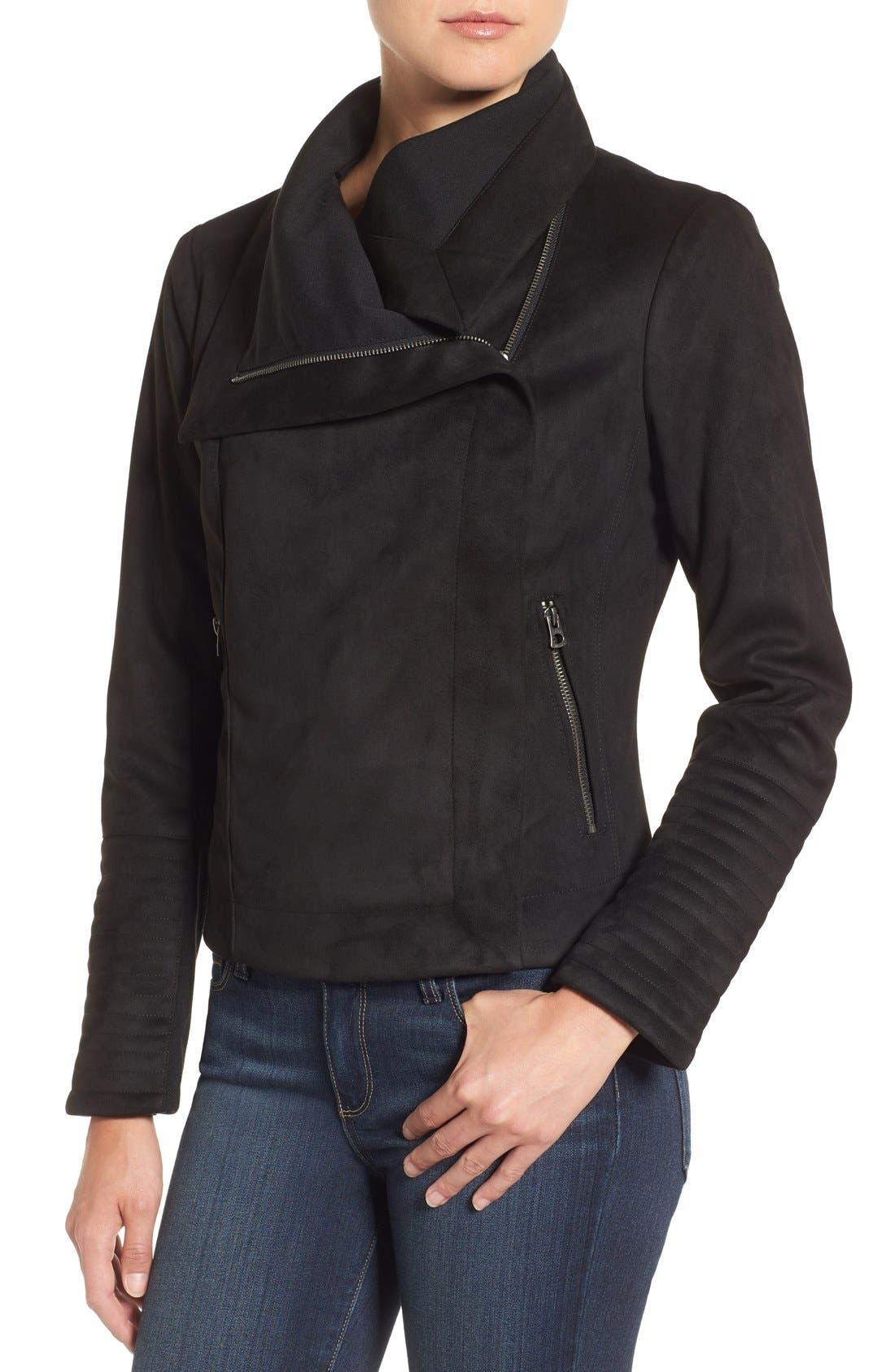 Faux Suede Moto Jacket,                             Alternate thumbnail 4, color,                             001