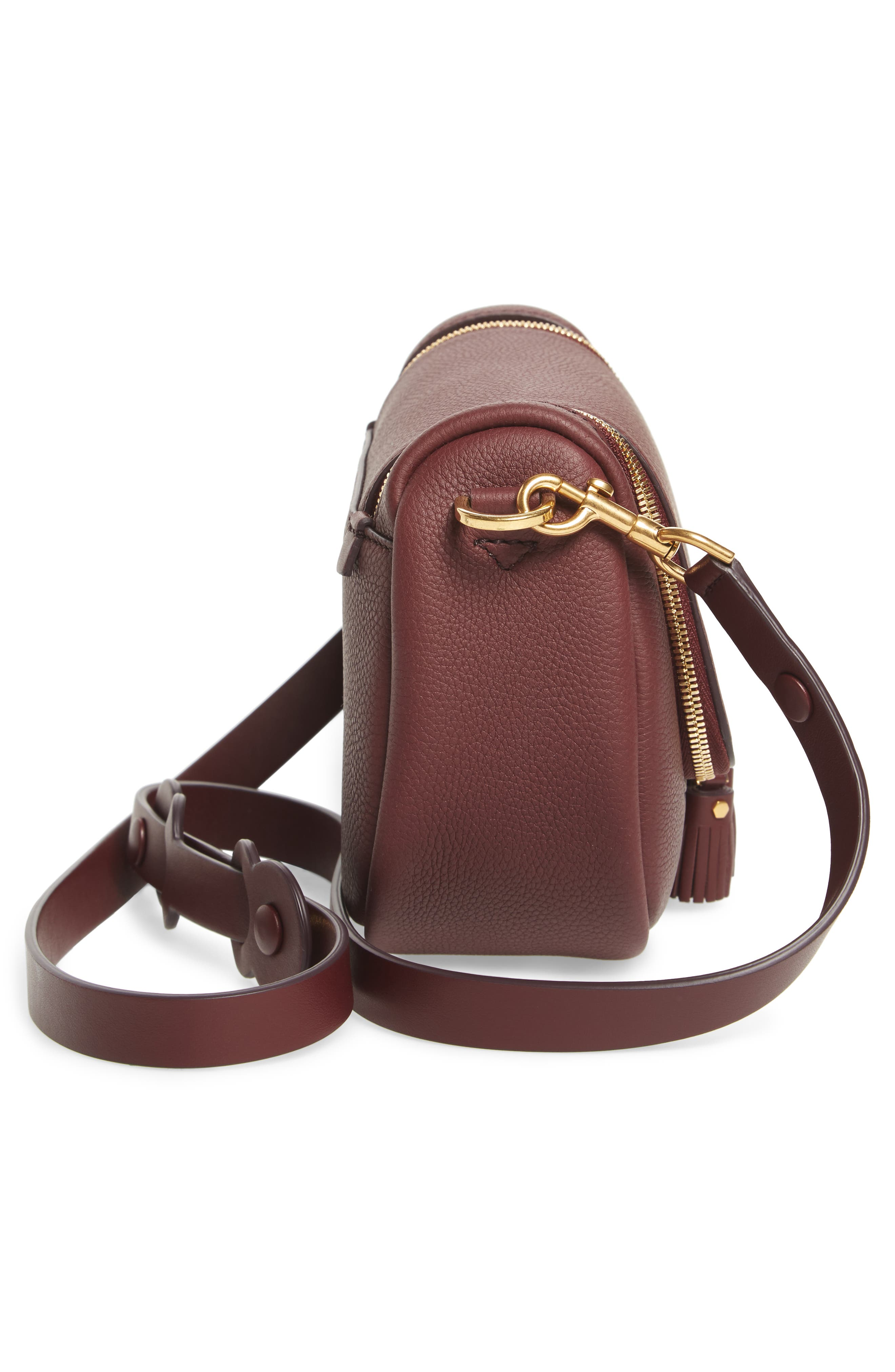 Small Vere Leather Crossbody Satchel,                             Alternate thumbnail 5, color,                             CLARET