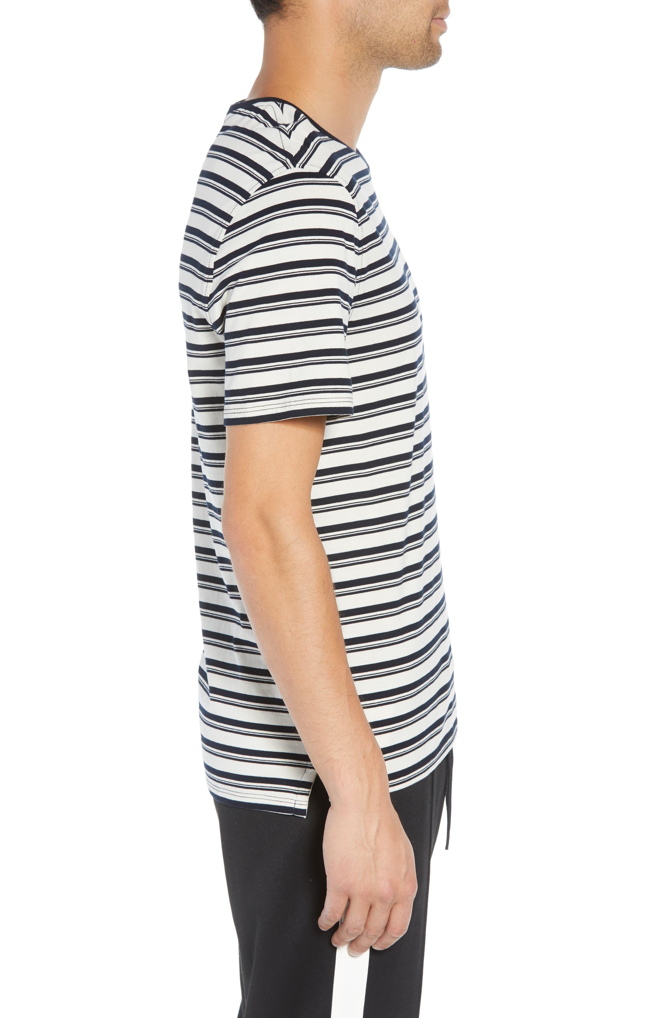 Variegated Stripe Regular Fit Cotton Crewneck T-Shirt,                             Alternate thumbnail 3, color,                             400