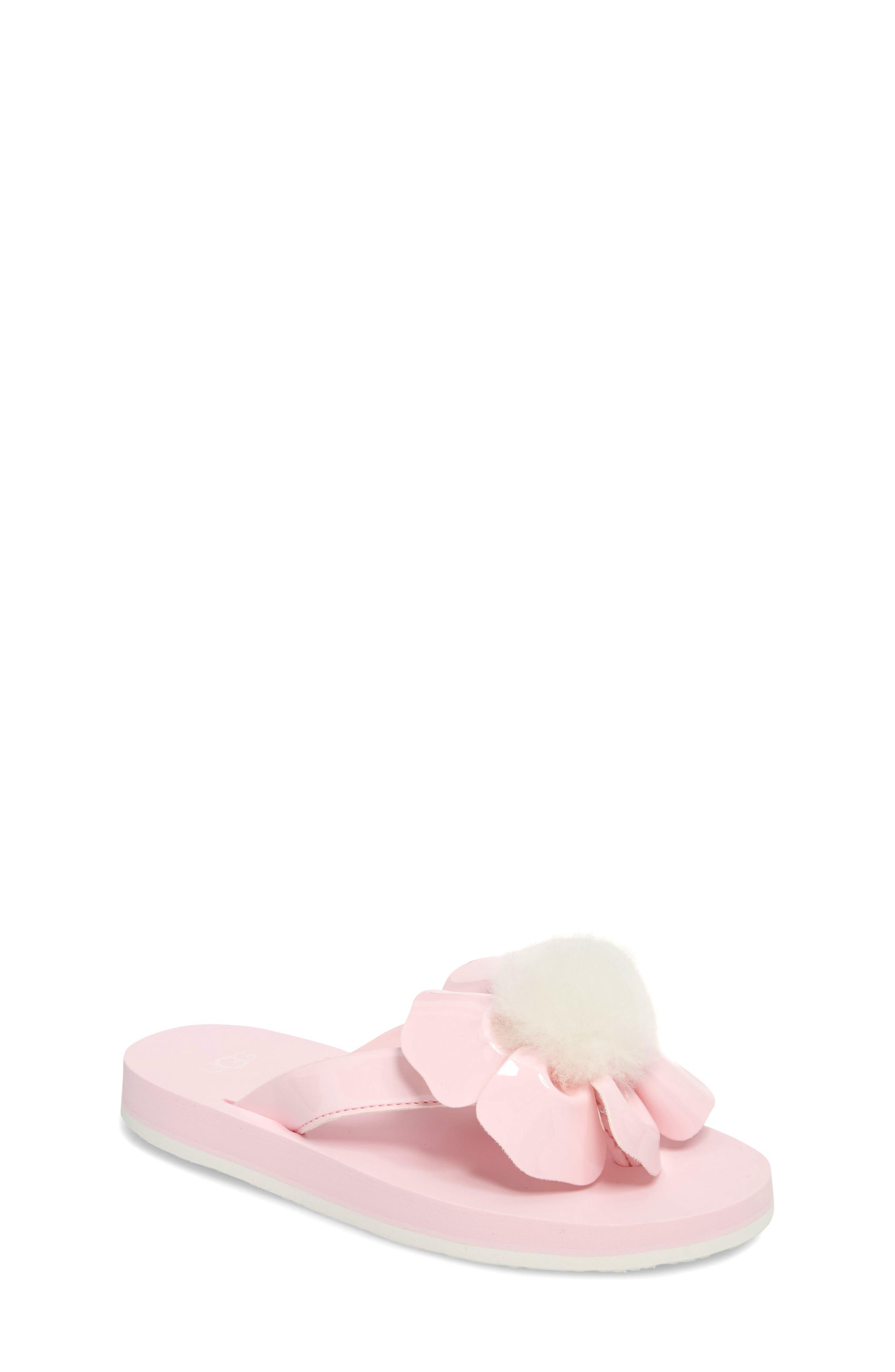 Poppy Genuine Shearling Flip Flop,                             Main thumbnail 2, color,