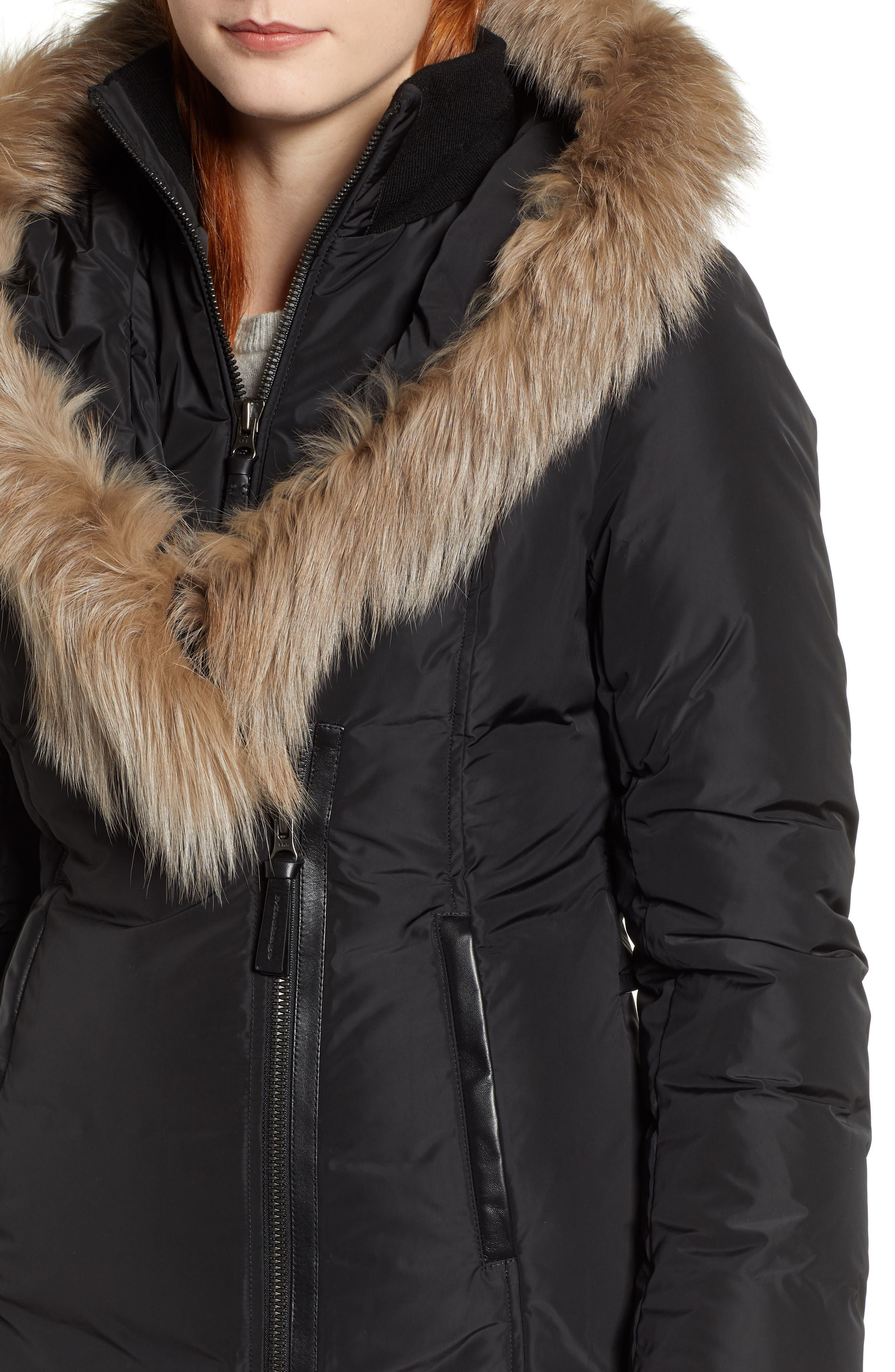 MACKAGE,                             800 Fill Power Down Coat with Genuine Fox Fur Trim,                             Alternate thumbnail 4, color,                             001