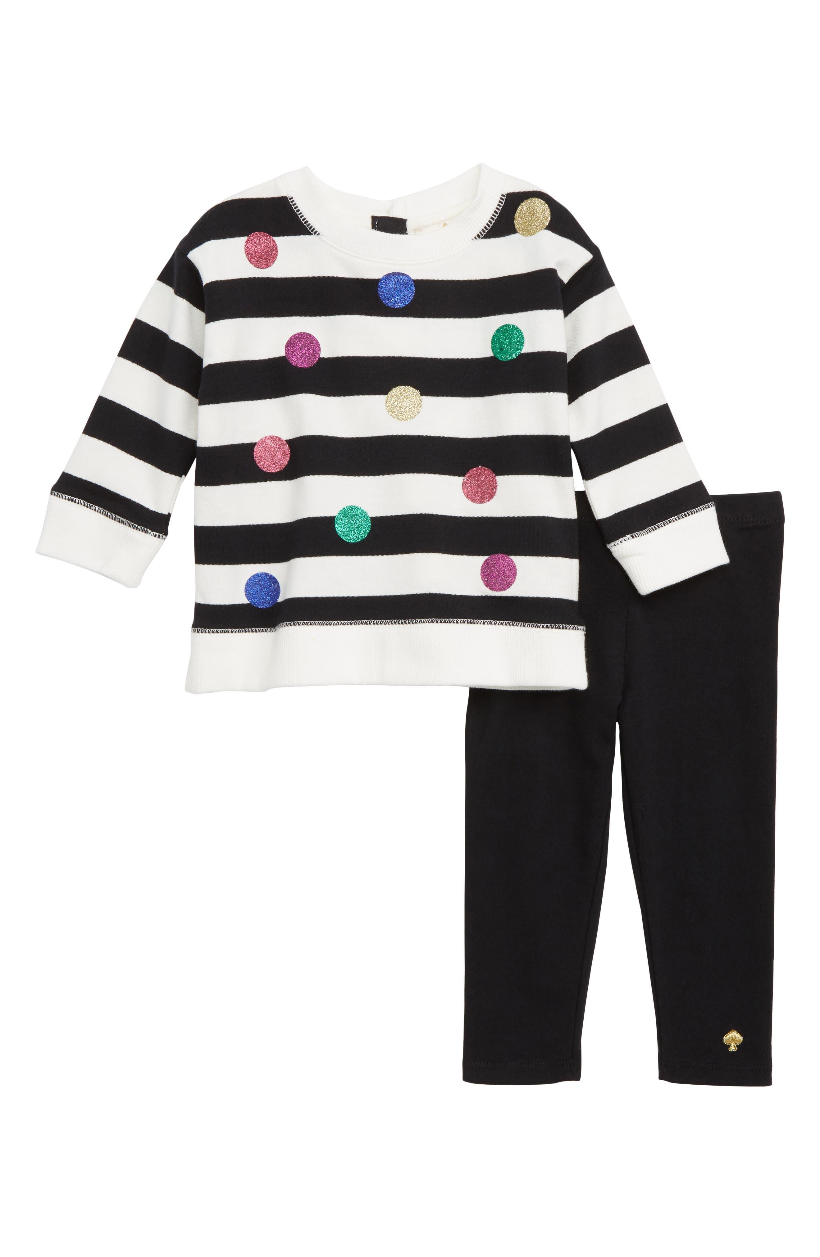 glitter dot sweatshirt & leggings set,                         Main,                         color, FRENCH CREAM/ BLACK STRIPE