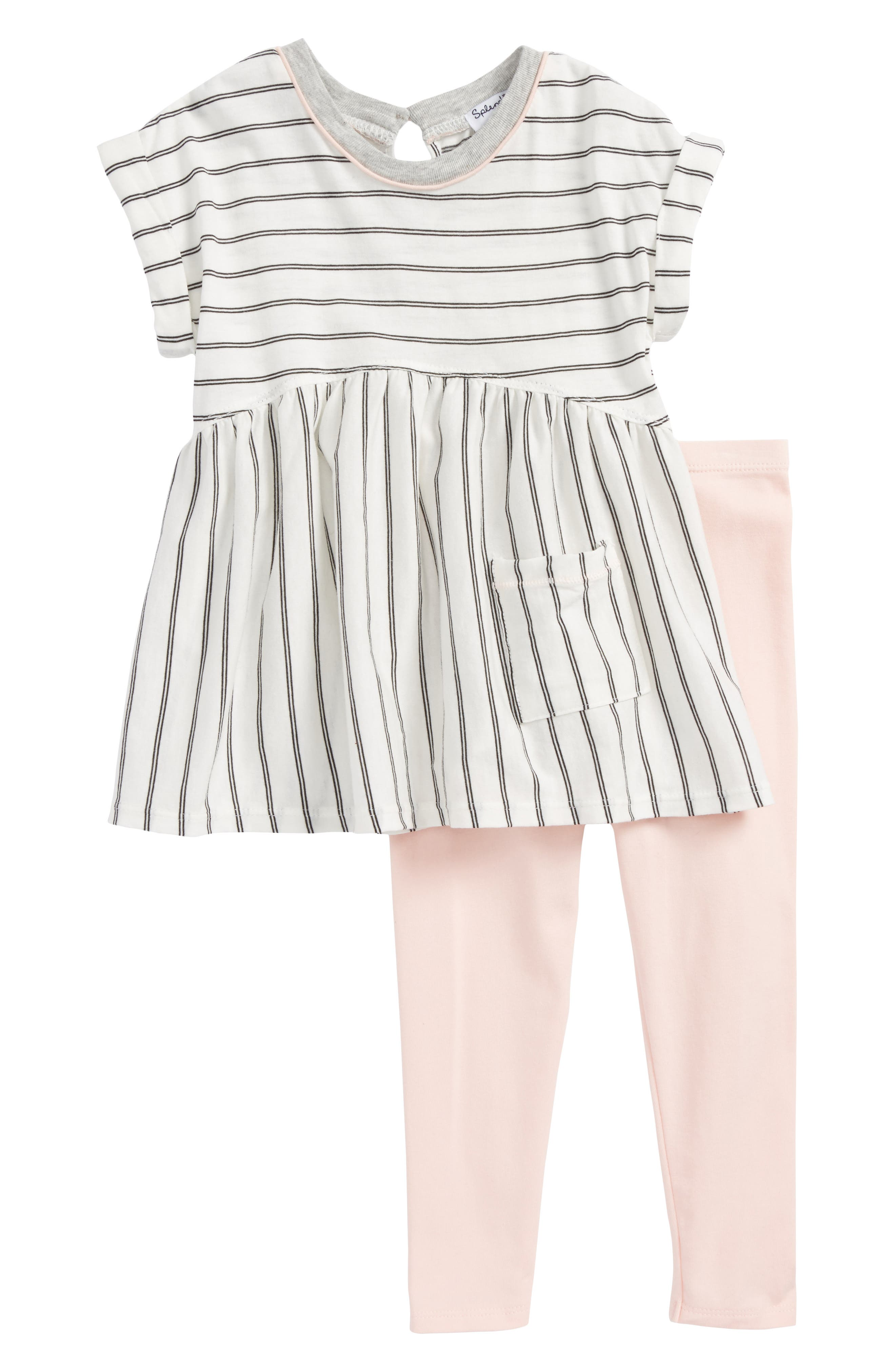 Stripe Top & Leggings Set,                         Main,                         color, 100