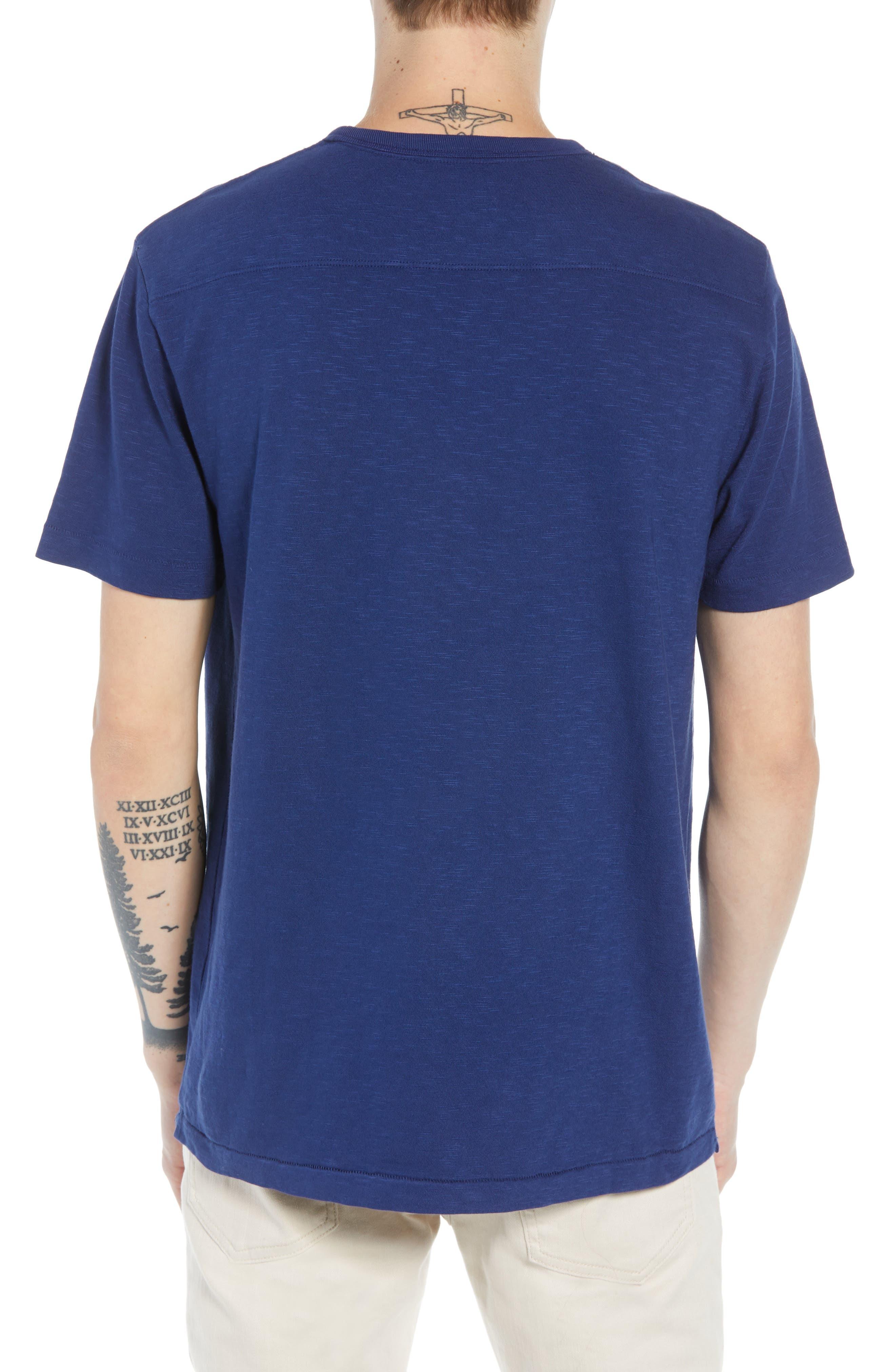 Bleu Slubbed T-Shirt,                             Alternate thumbnail 2, color,                             FATHOM BLUE BLACK