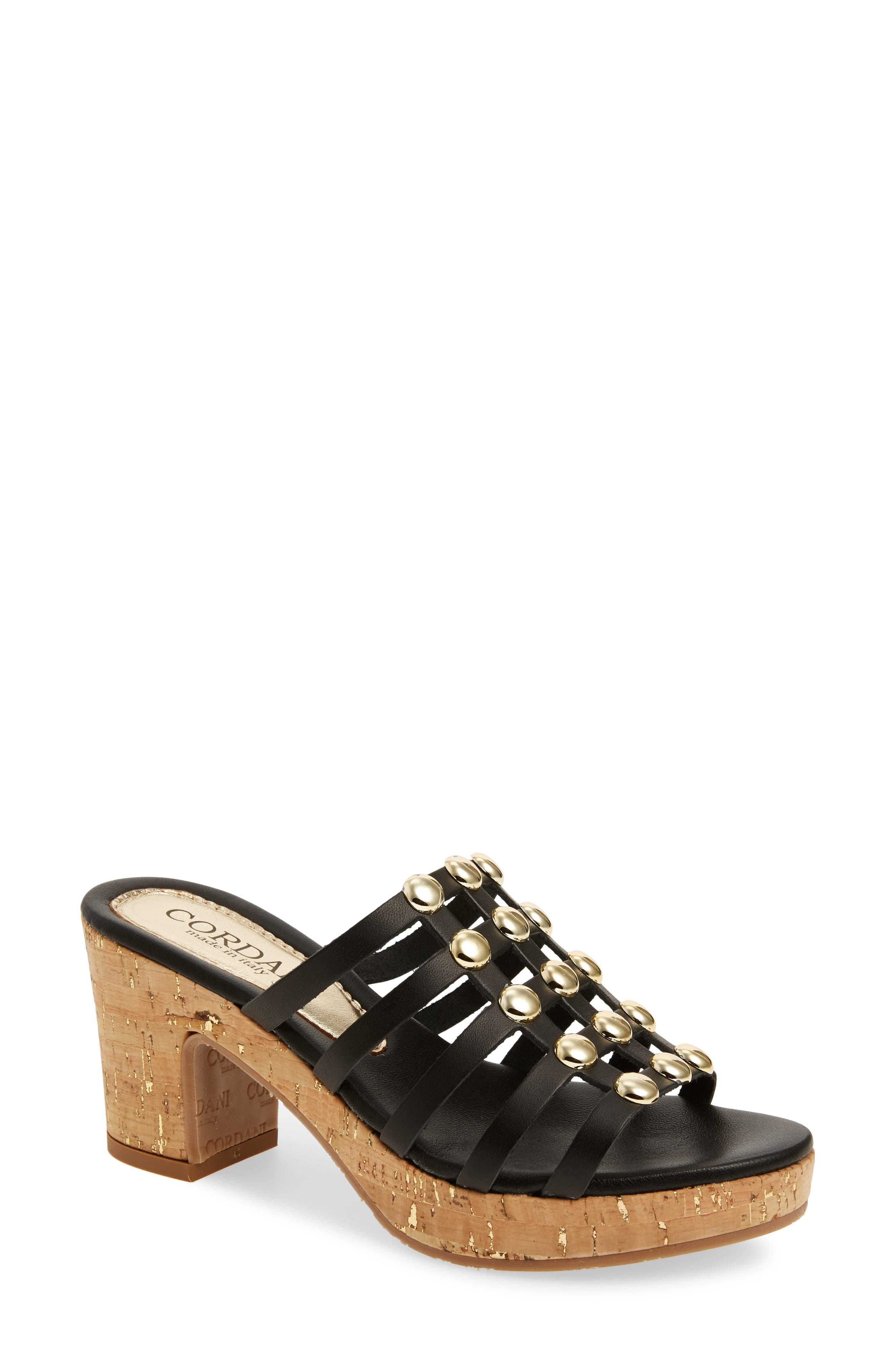 Keane Studded Slide Sandal,                         Main,                         color, BLACK LEATHER