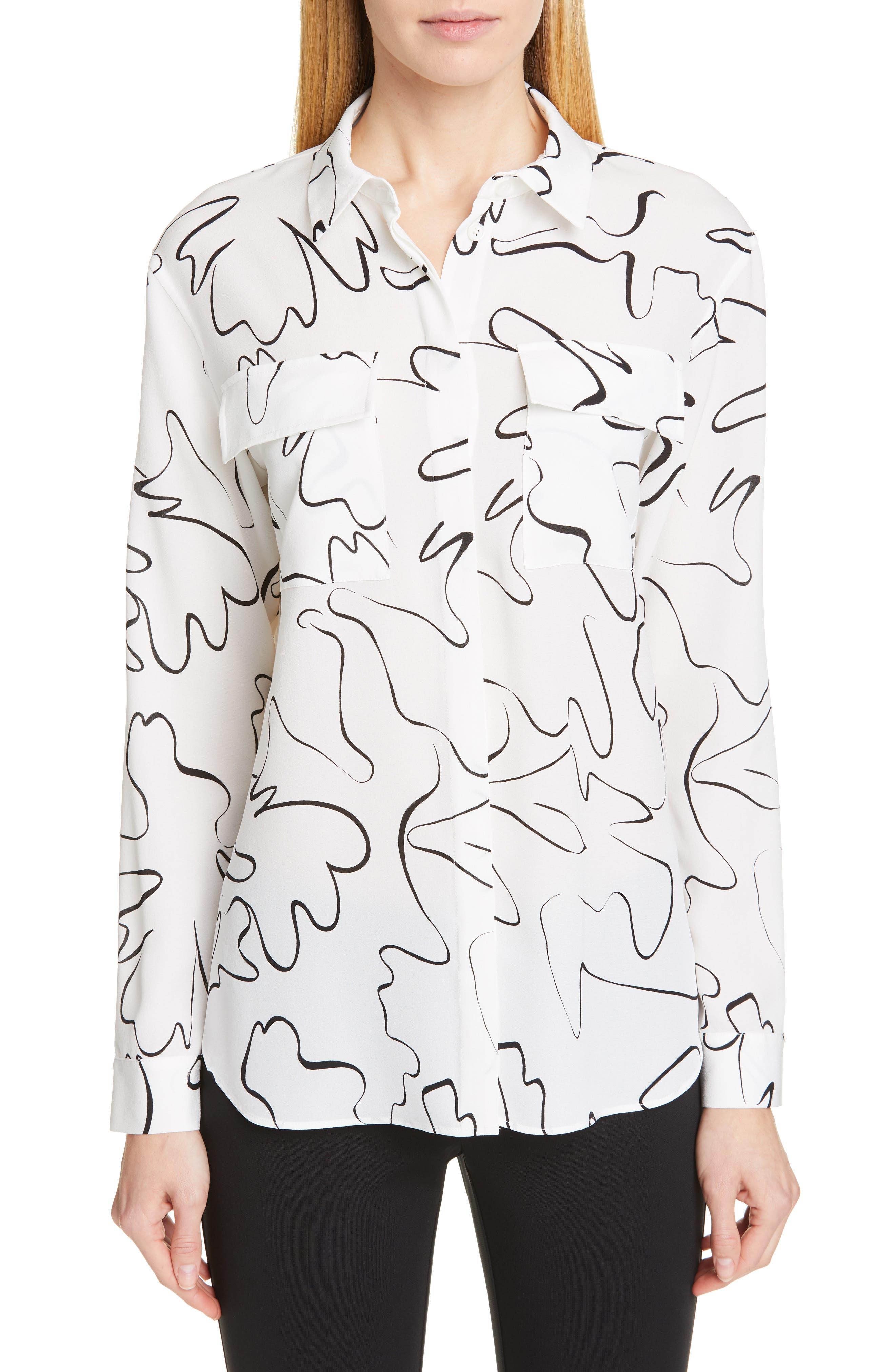 Zora Scribble Print Silk Blouse, Main, color, CLOUD MULTI