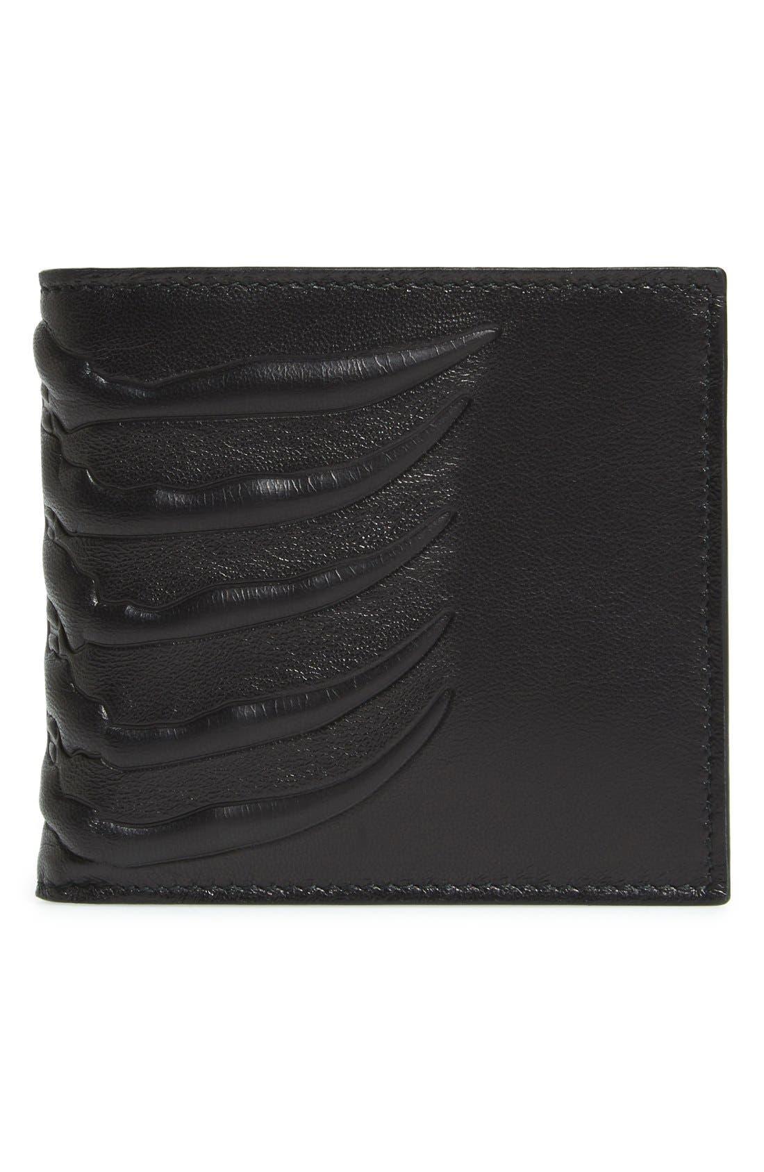 Rib Cage Leather Wallet,                             Main thumbnail 1, color,                             BLACK
