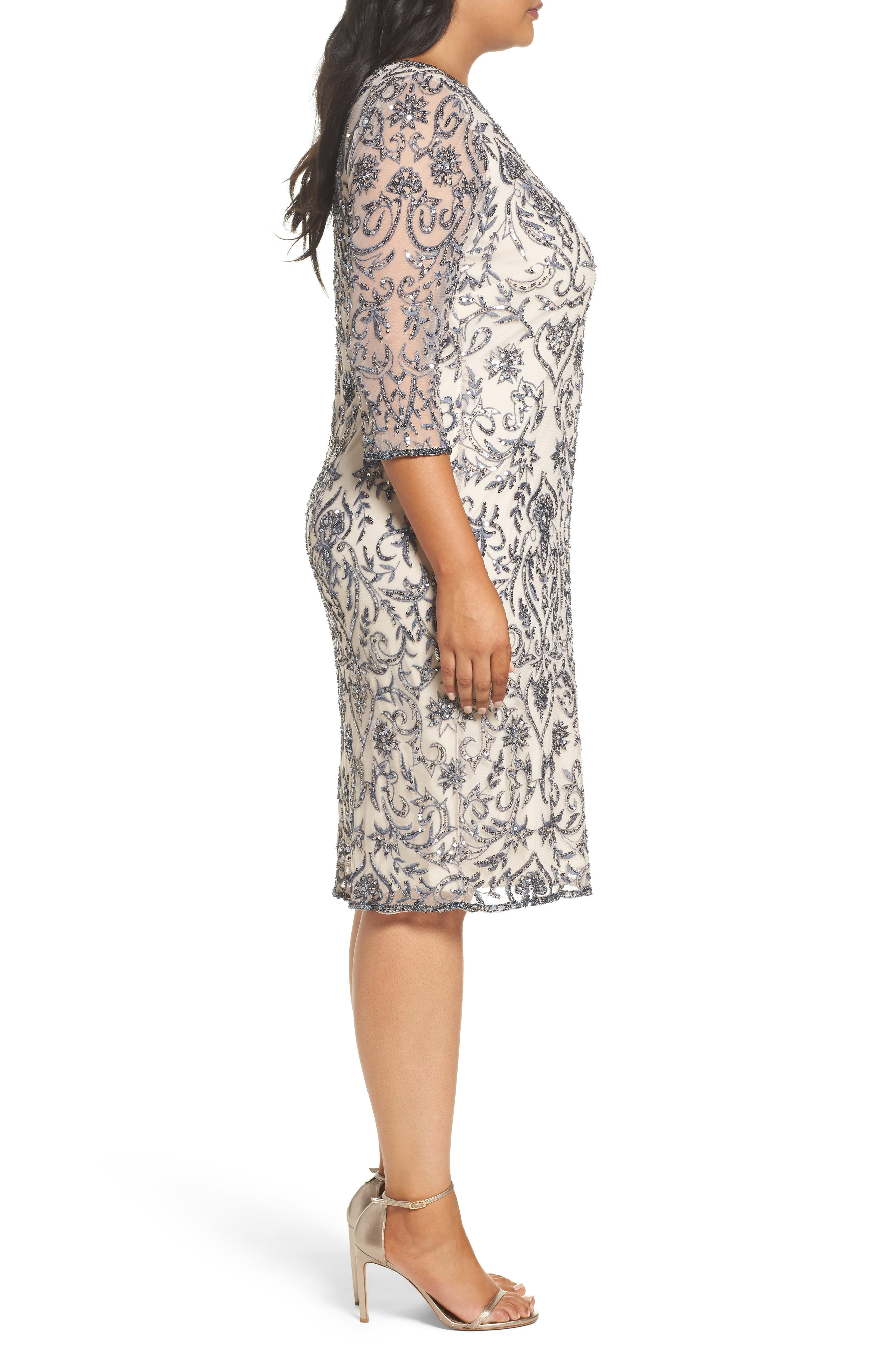 Sequin Embroidered Sheath Dress,                             Alternate thumbnail 3, color,                             651