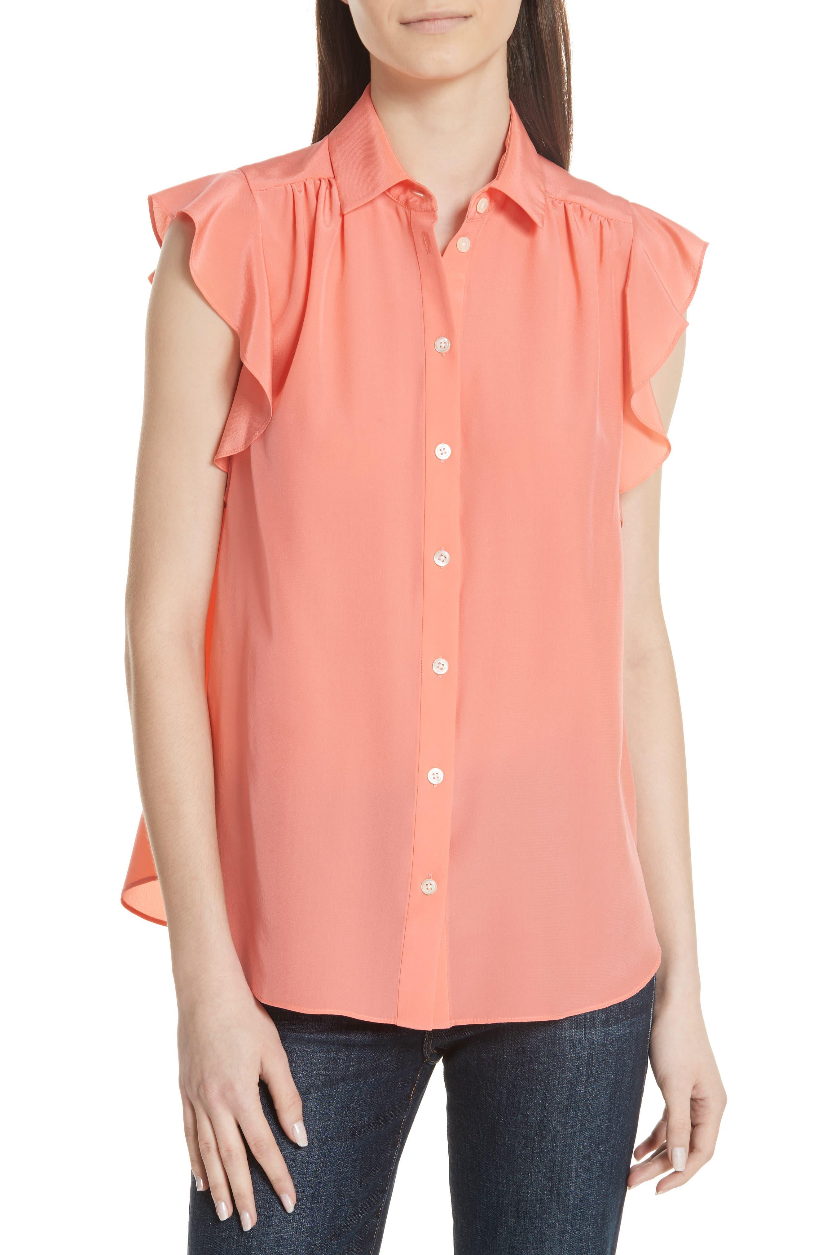 ruffle sleeve silk top,                         Main,                         color, APRICOT SORBET