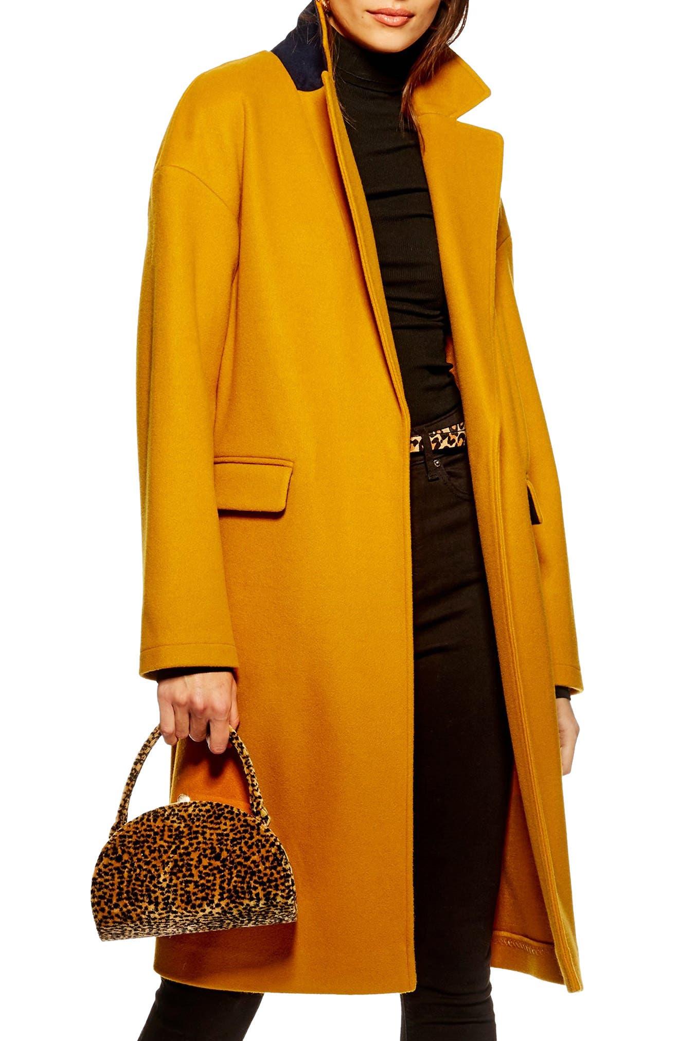 Lily Knit Back Midi Coat,                         Main,                         color, MUSTARD
