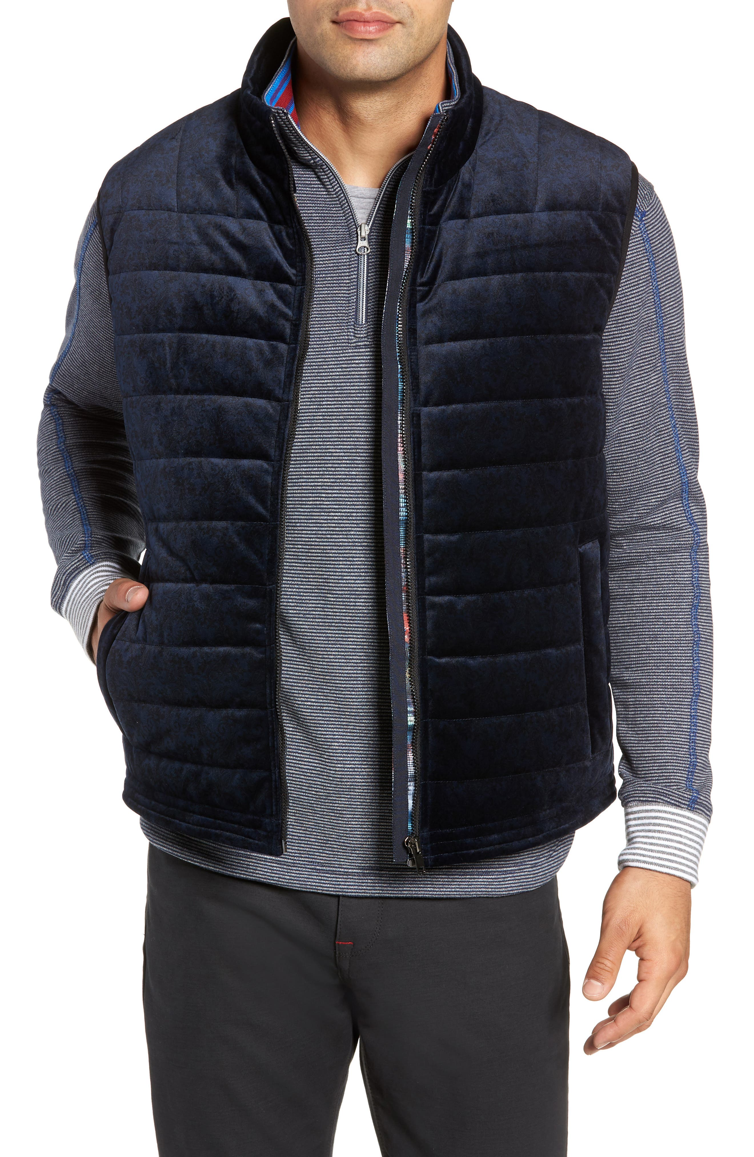 Guiffery Classic Fit Quilted Vest,                             Main thumbnail 1, color,                             NAVY