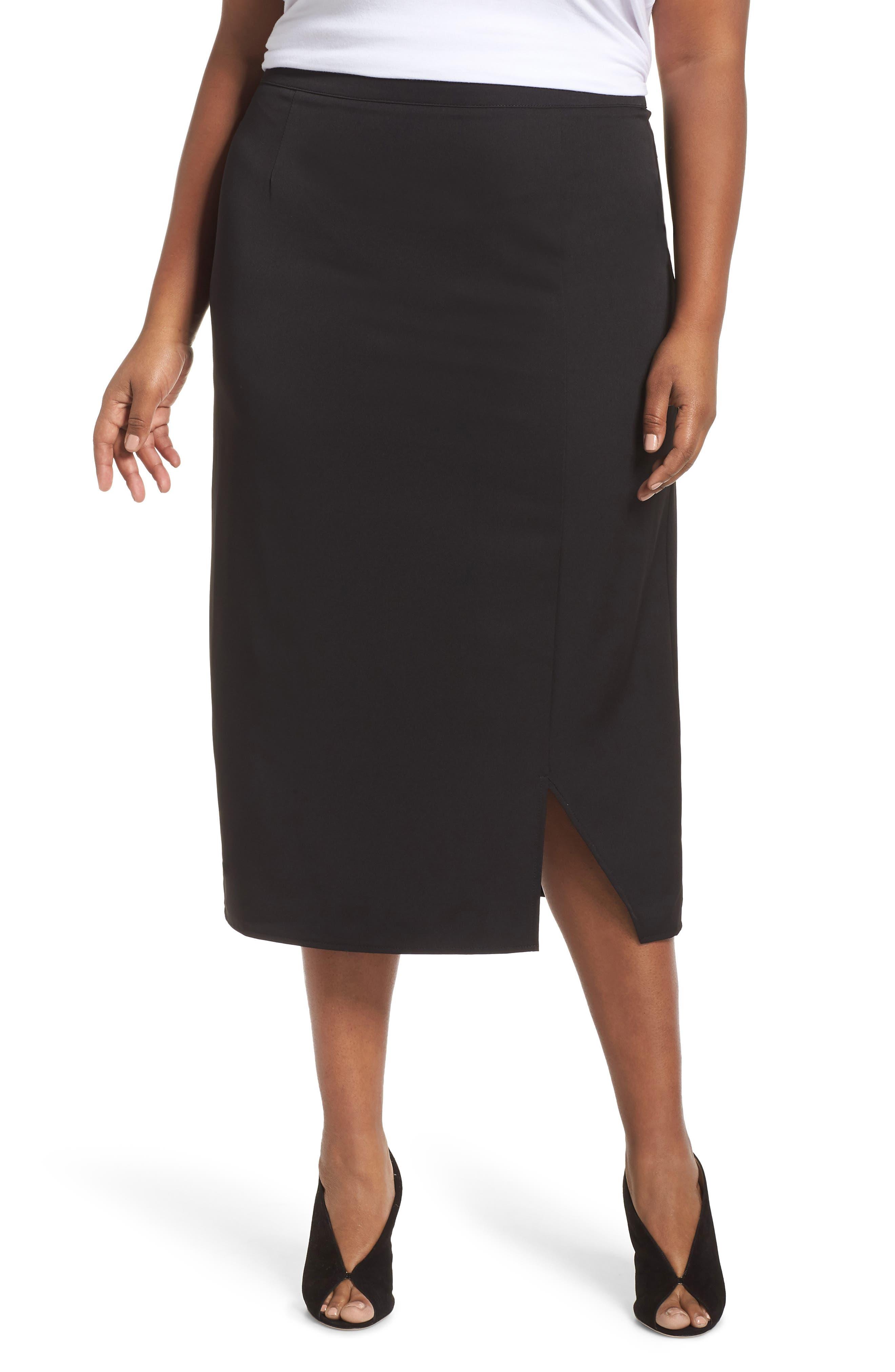 GLAMOROUS Split Pencil Skirt in Black