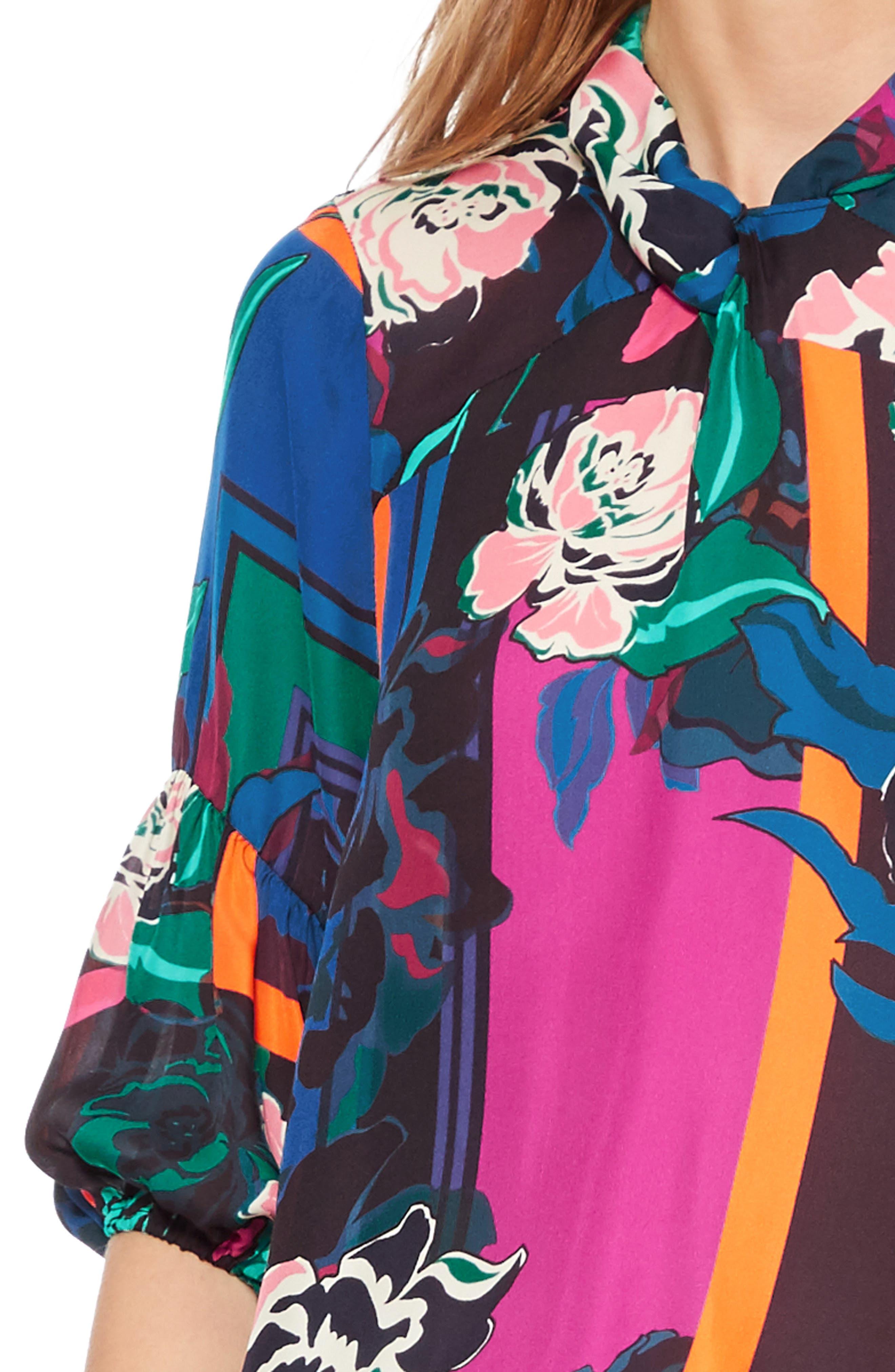 Olsen Floral Print Blouse,                             Alternate thumbnail 4, color,                             IRVING ROSE