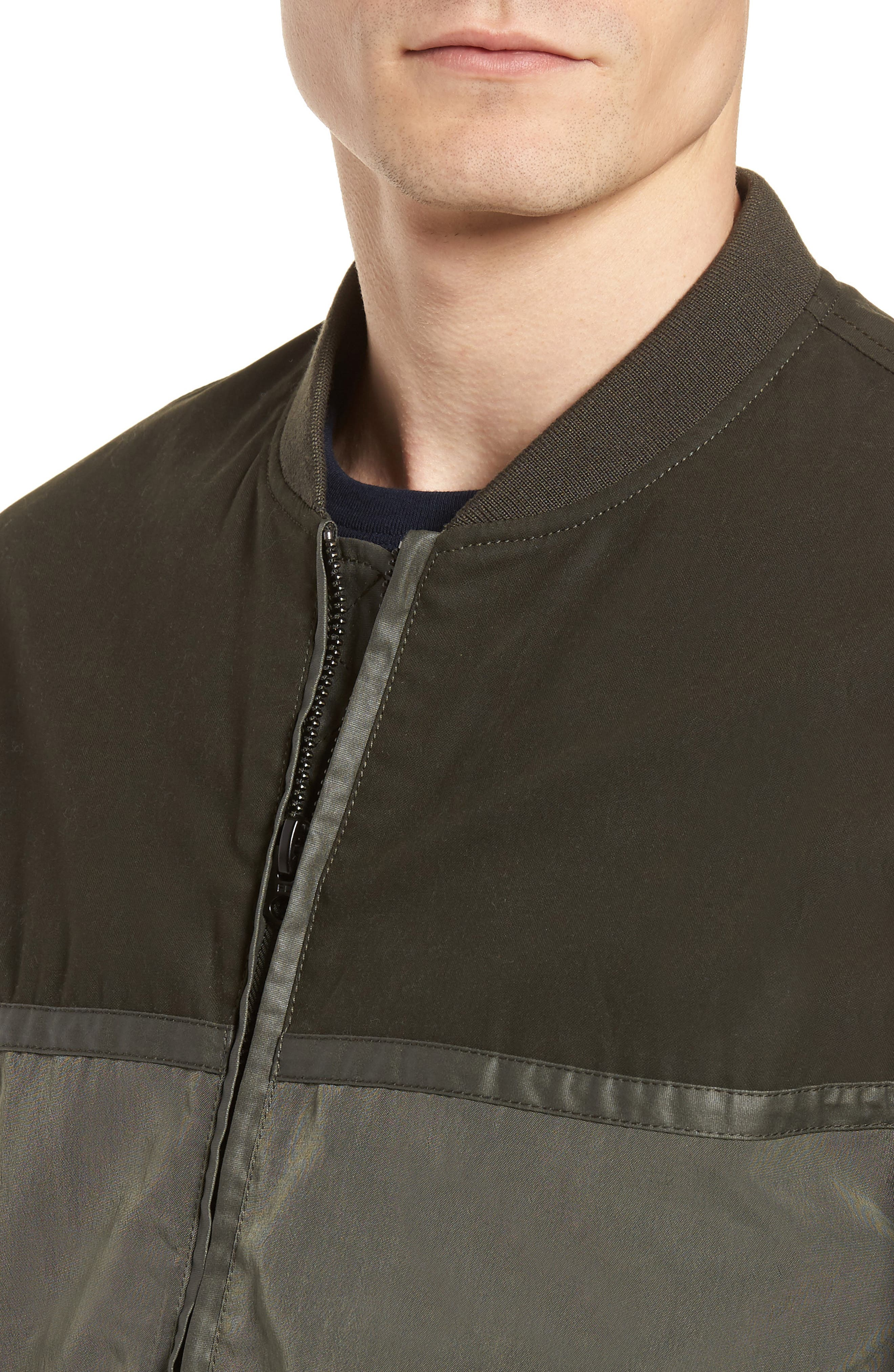 Patchwork Waxed Bomber Jacket,                             Alternate thumbnail 4, color,                             300