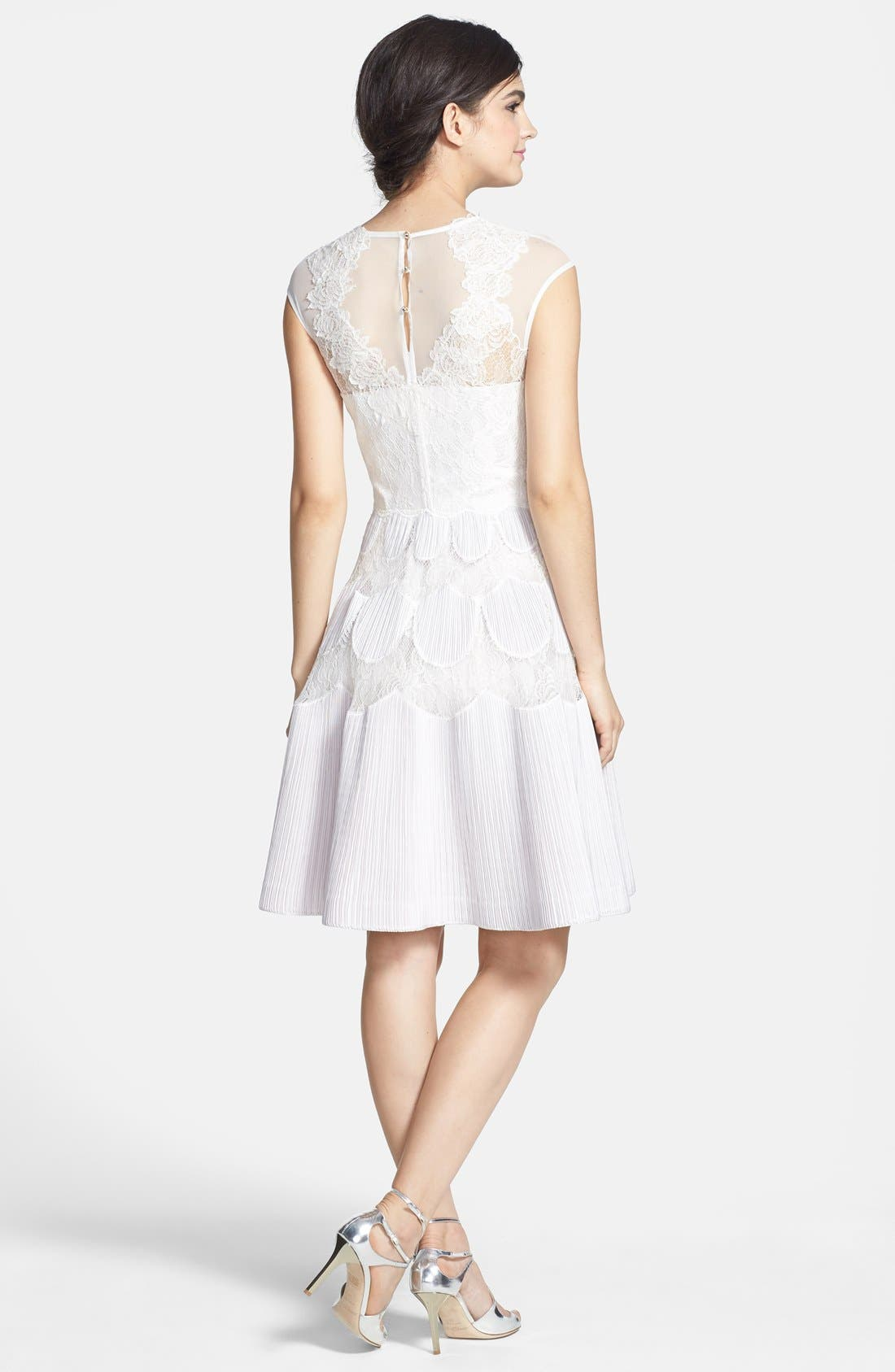 'Quetiaa' Illusion Textured Lace Fit & Flare Dress,                             Alternate thumbnail 5, color,                             250
