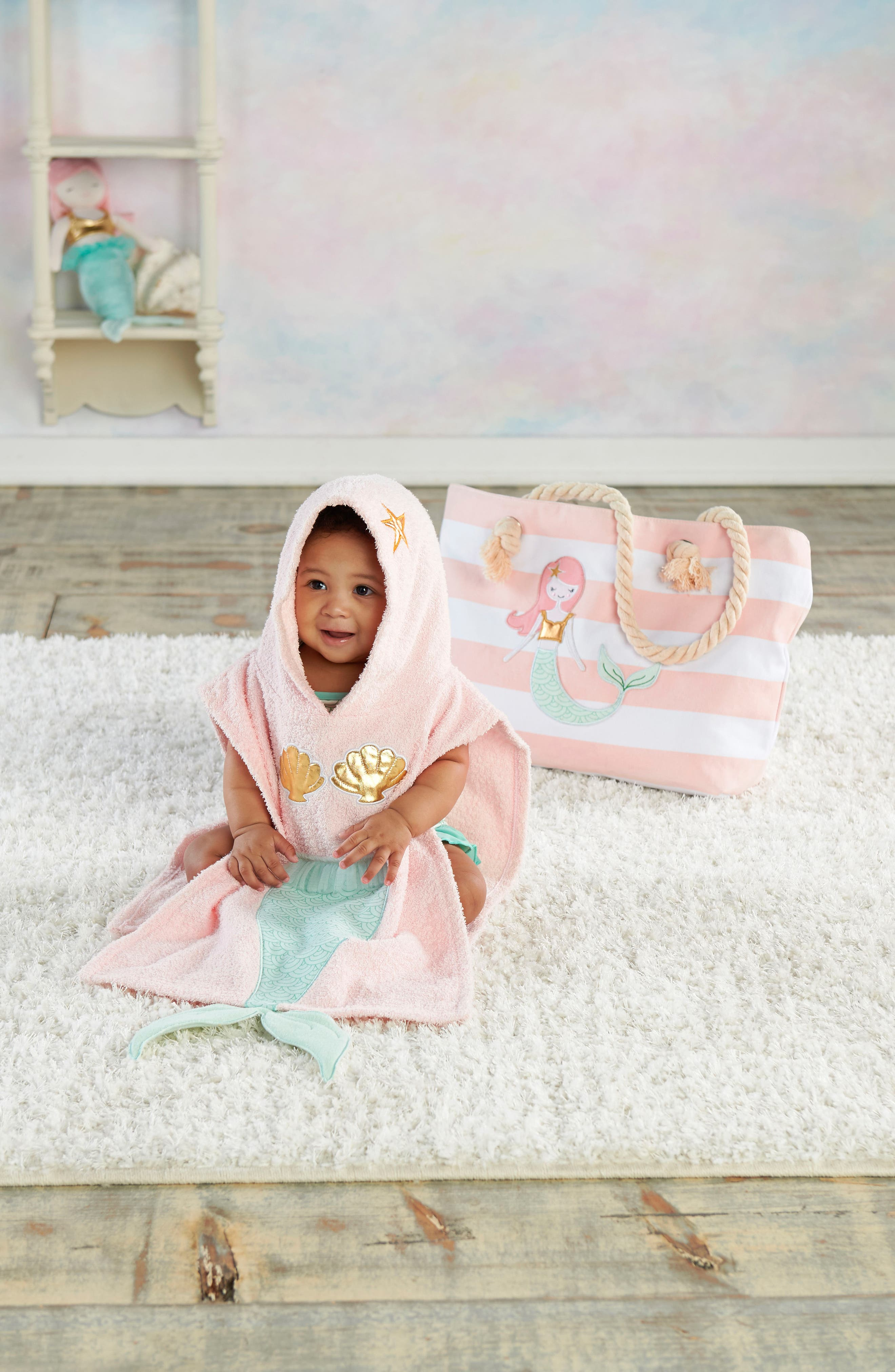 Mermaid Hooded Towel, Swimsuit, Sun Hat & Tote Set,                             Alternate thumbnail 3, color,                             PINK