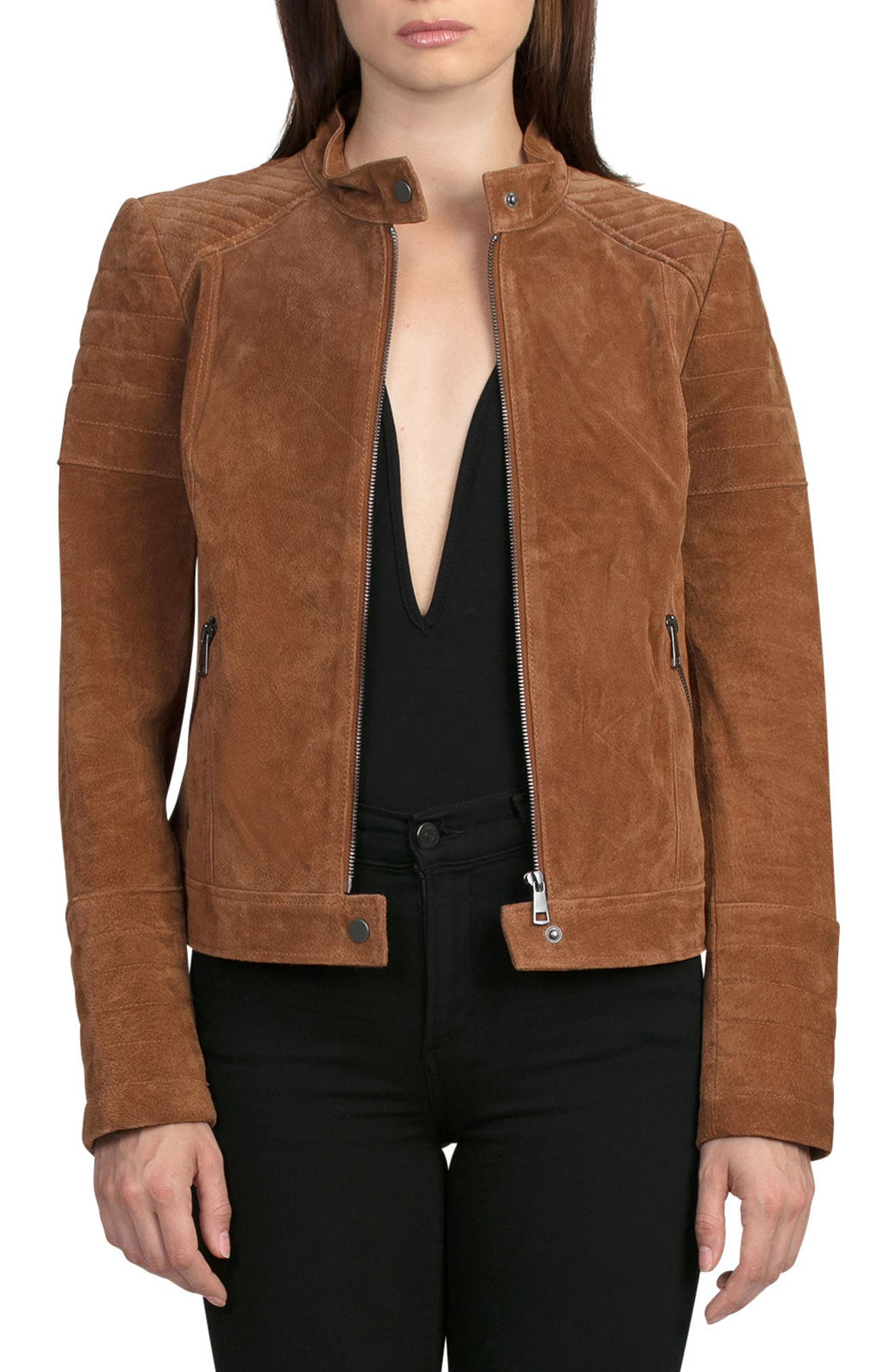 Suede Moto Jacket,                             Main thumbnail 1, color,                             200