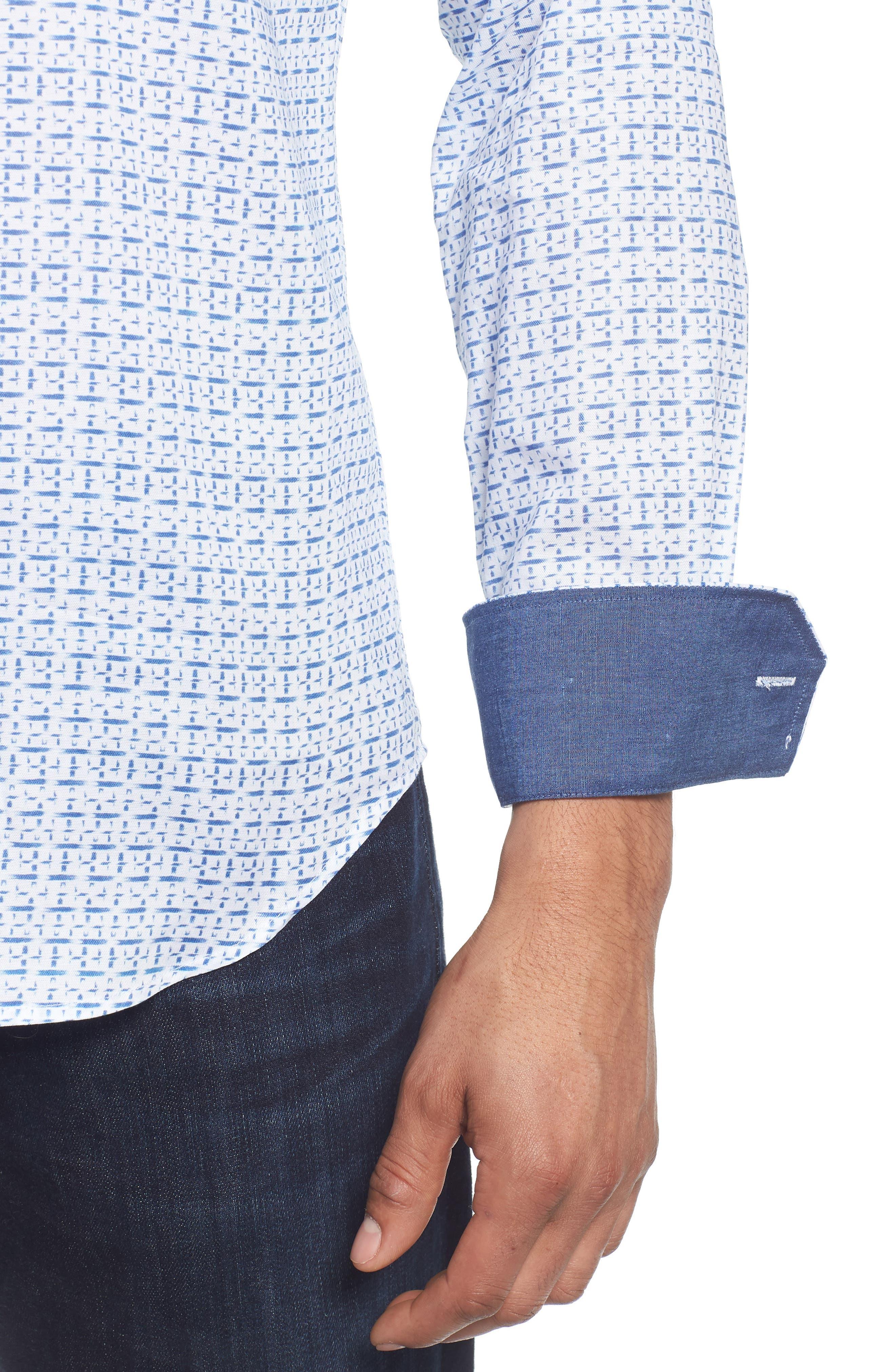 Shaped Fit Print Sport Shirt,                             Alternate thumbnail 4, color,                             422