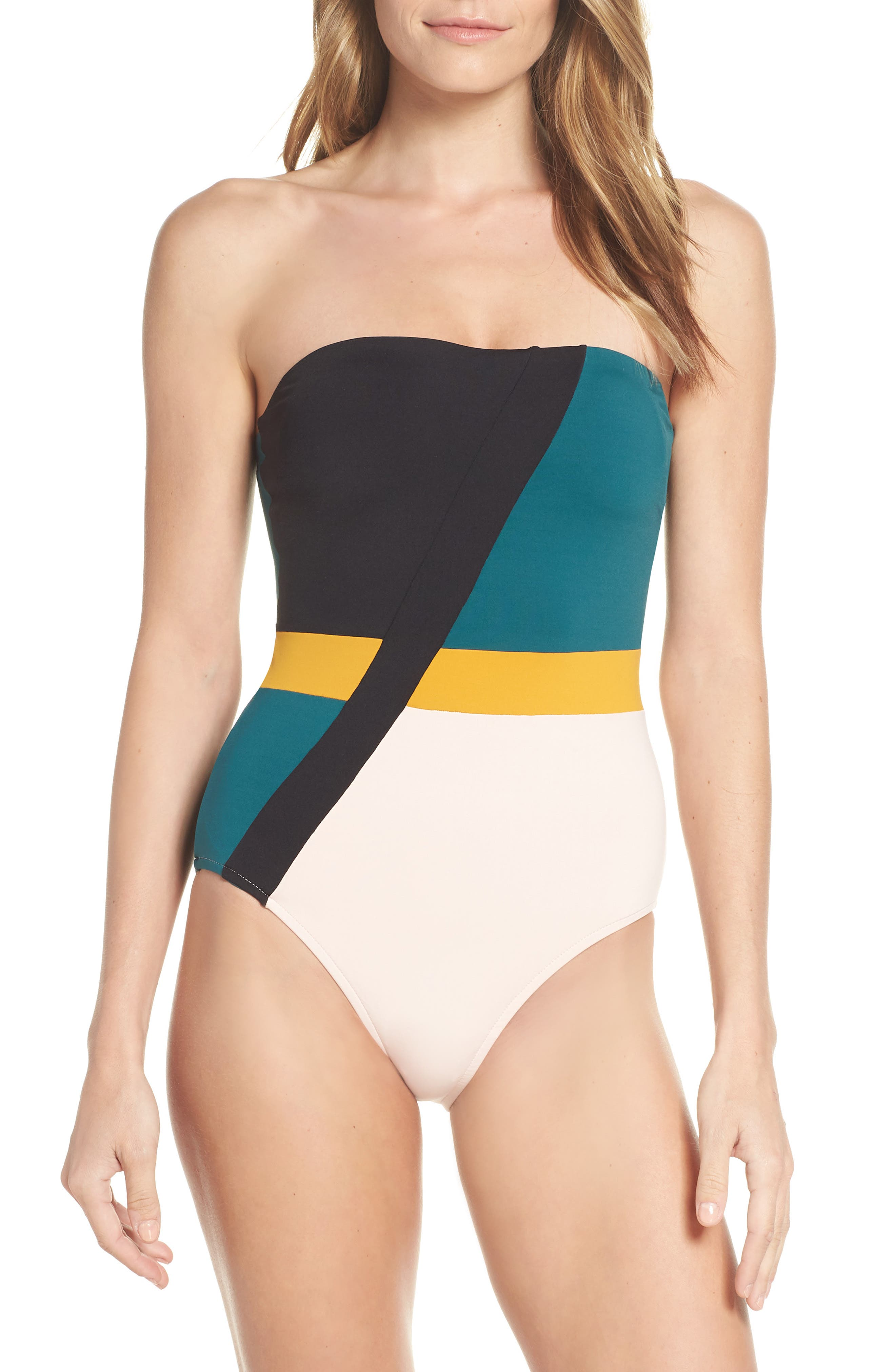Seafolly Aralia Strapless One-Piece Swimsuit, US / 8 AU - Blue/green