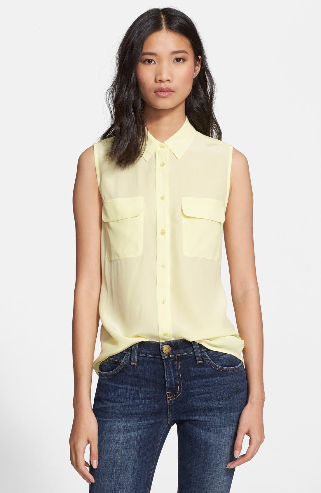 'Slim Signature' Sleeveless Silk Shirt,                             Main thumbnail 47, color,