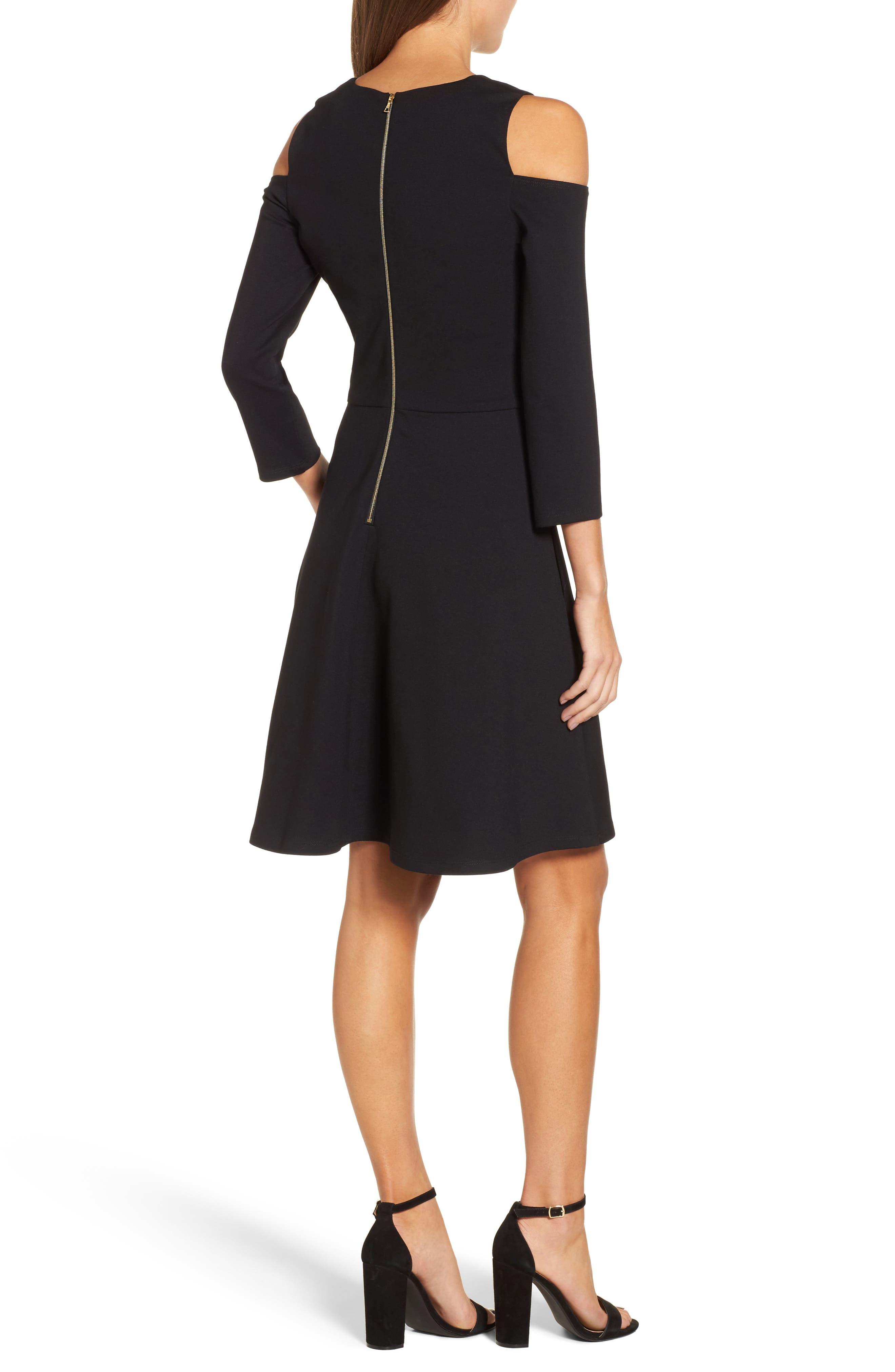Cold Shoulder Fit & Flare Dress,                             Alternate thumbnail 2, color,                             001
